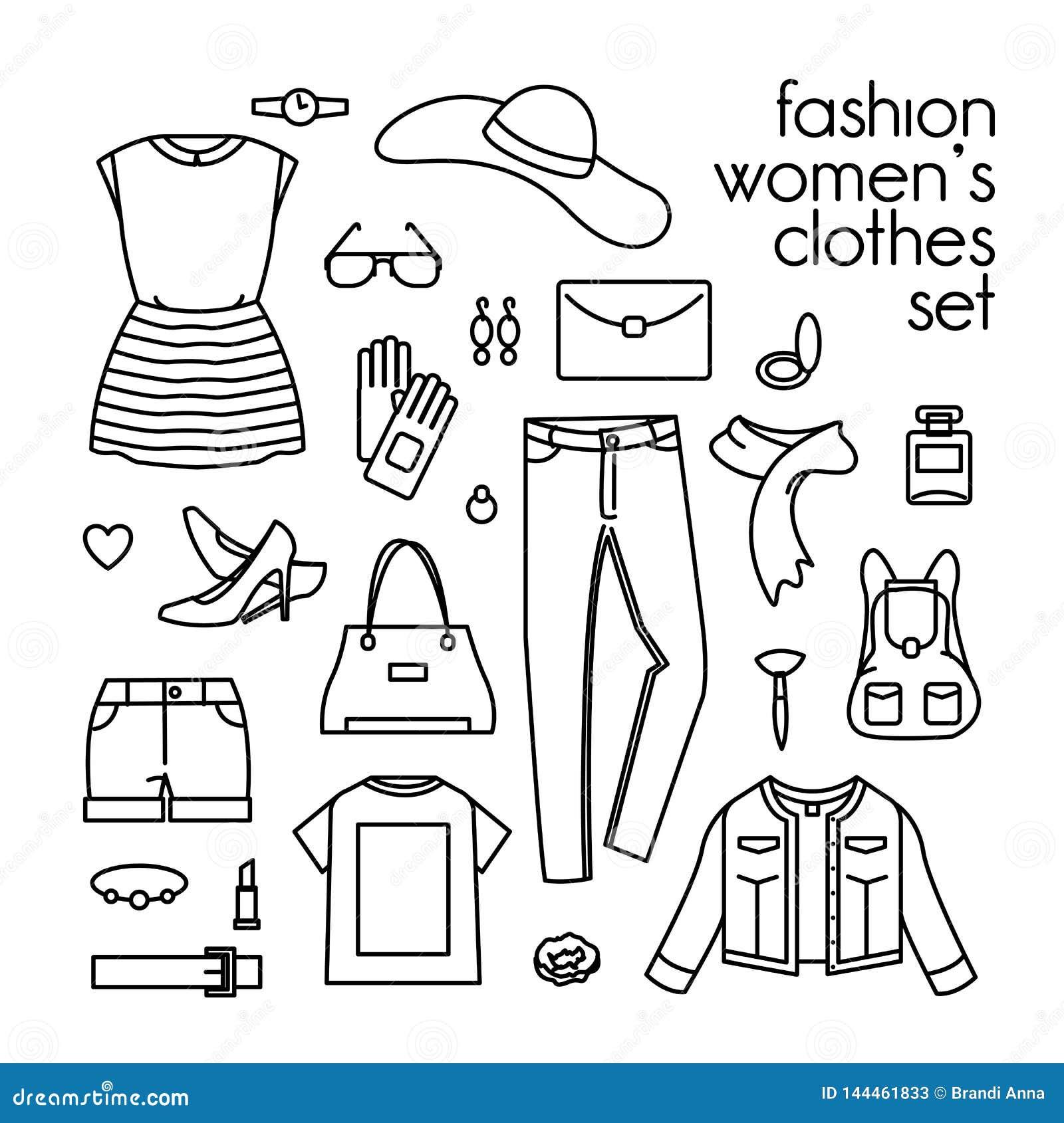 传染媒介套妇女的衣裳、鞋子和提包