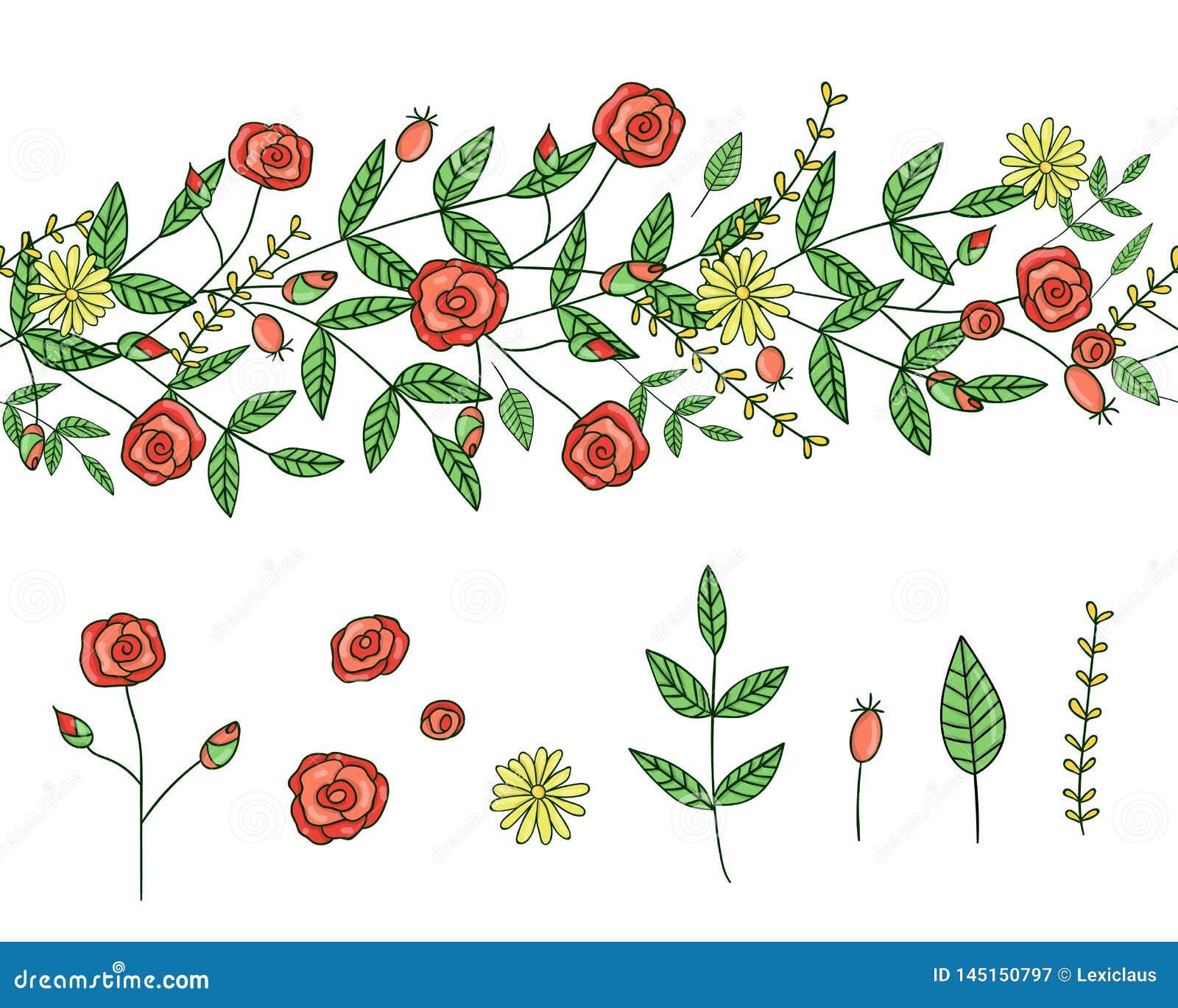 传染媒介套庭园花木设计元素和样式刷子用风格化蒲公英 E r