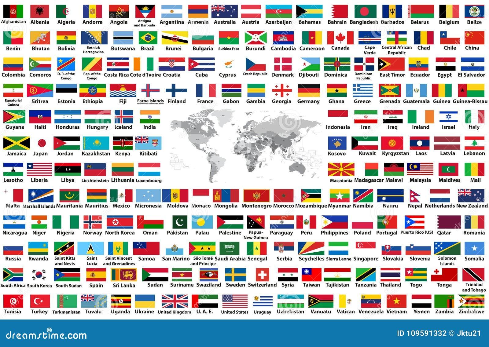传染媒介套所有世界旗子在白色背景以字母顺序安排了隔绝 与国名和bord的世界地图