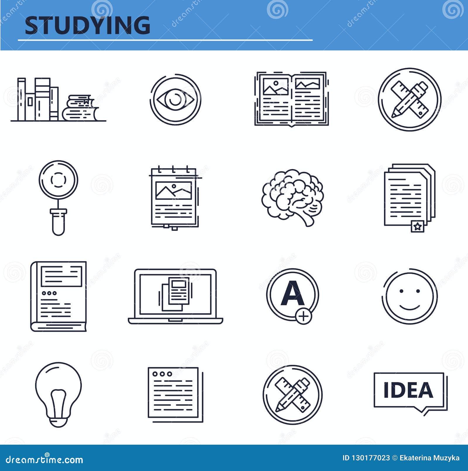 传染媒介套教育,书,在稀薄的线型的知识象 网站UI和流动网应用程序象 概述设计