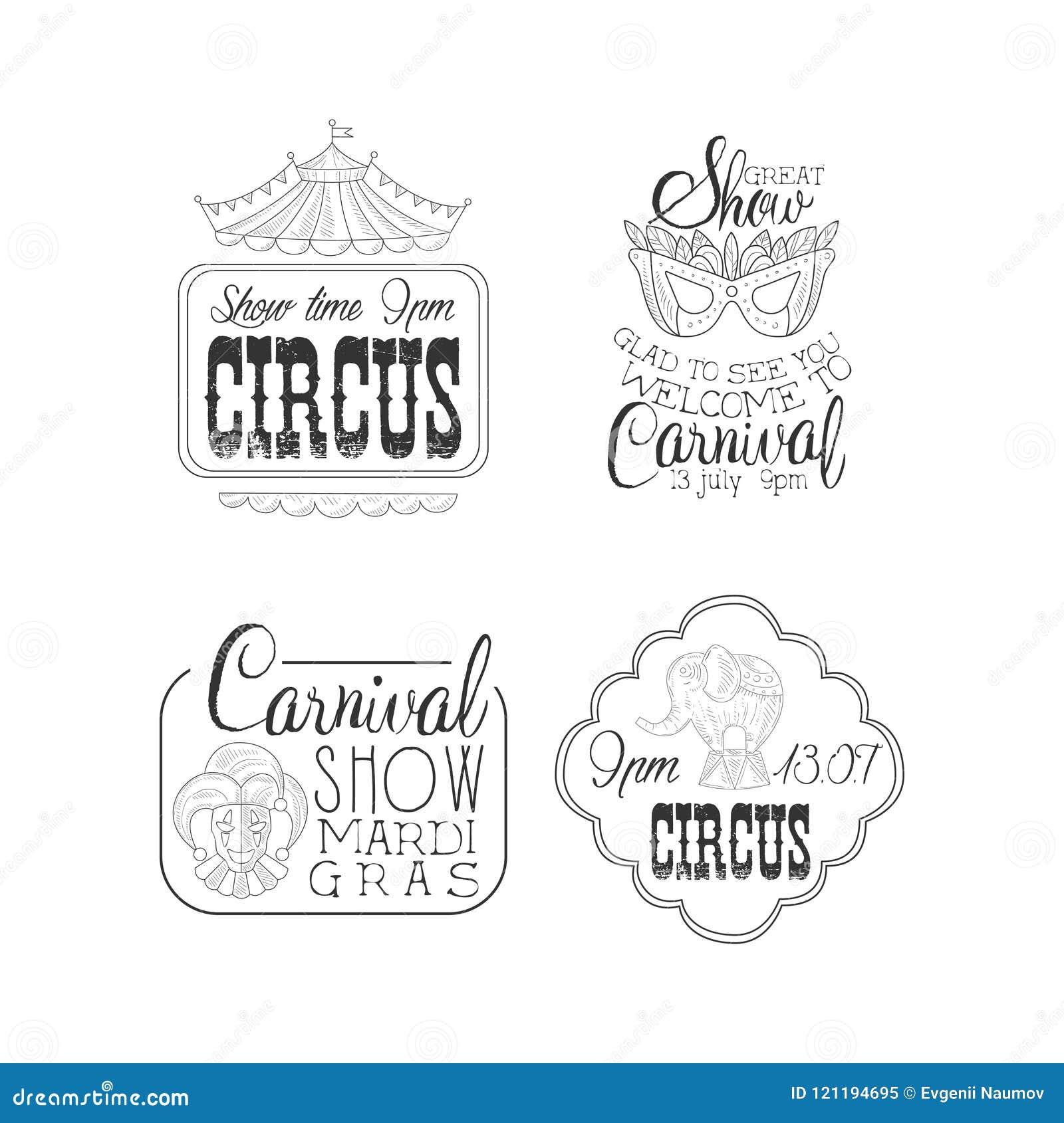 传染媒介套马戏和狂欢节狂欢节签字 与帐篷,化妆舞会面具上面的黑白商标模板