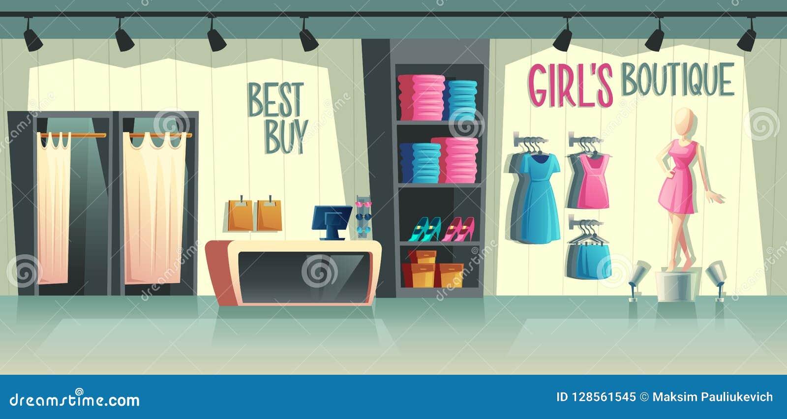 传染媒介女孩s精品店 女性衣物商店内部