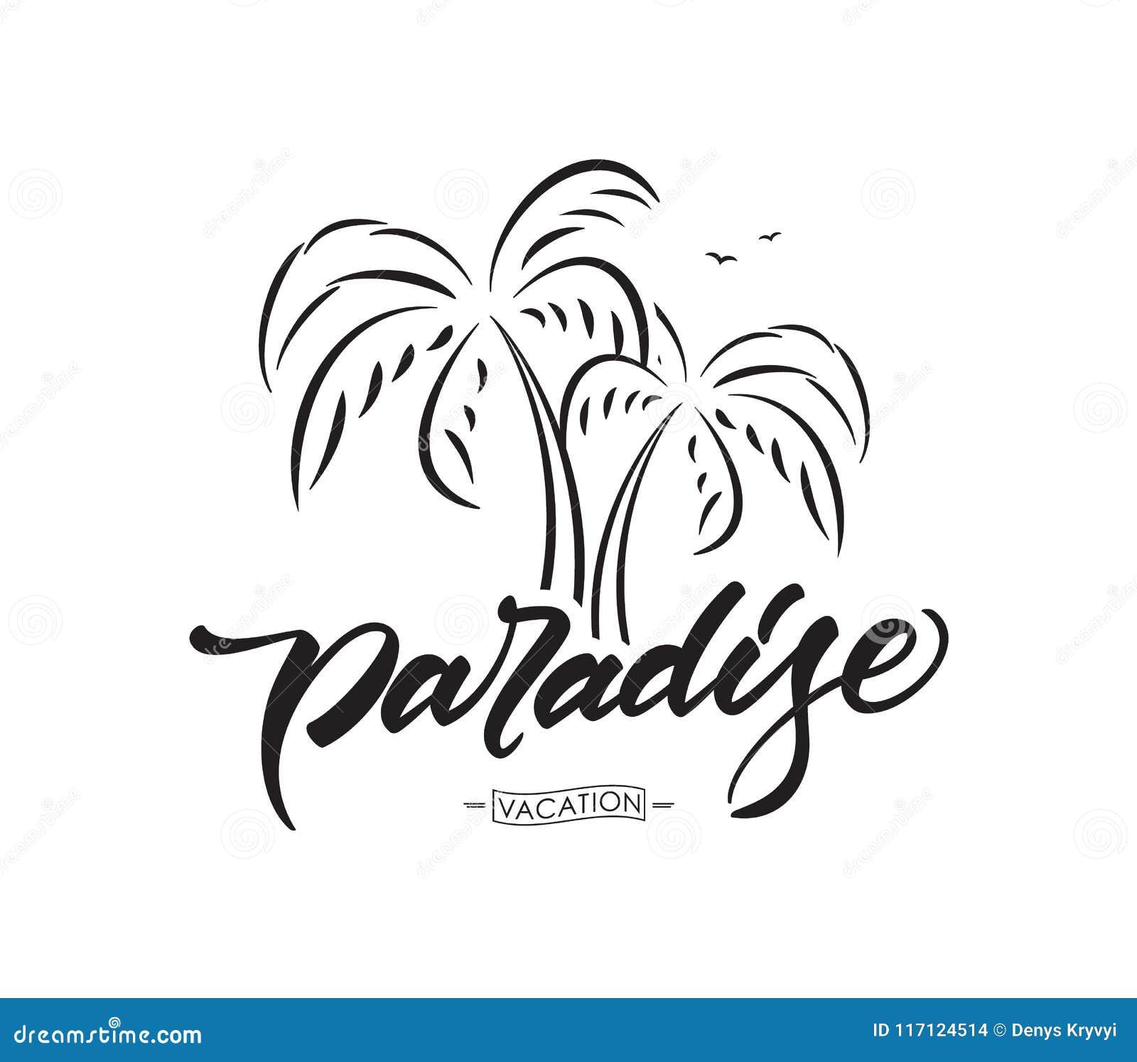 传染媒介字法天堂印刷术设计有棕榈树的在白色背景 katya krasnodar夏图片