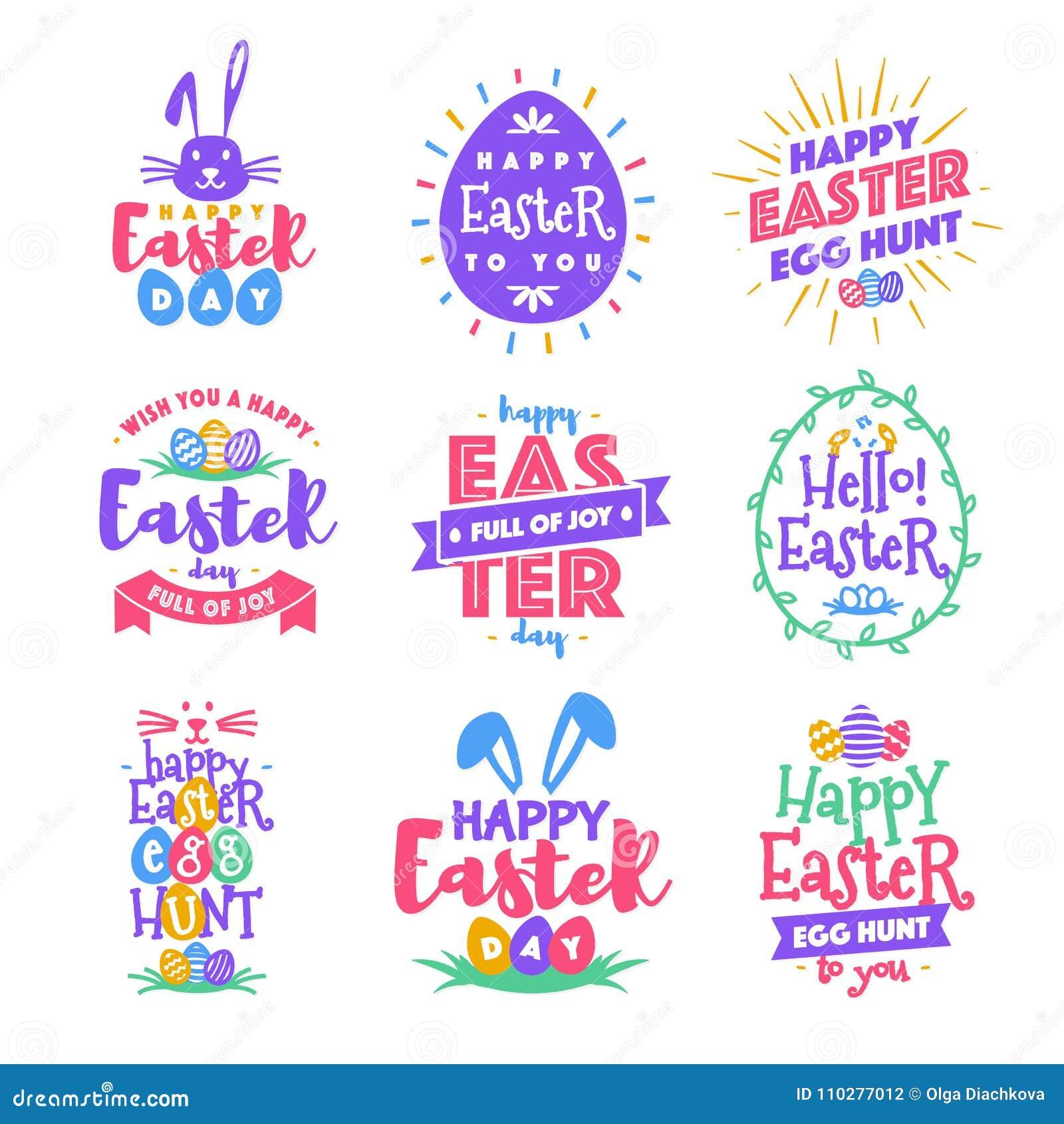 传染媒介愉快的复活节天象征集合colorfull印刷术样式
