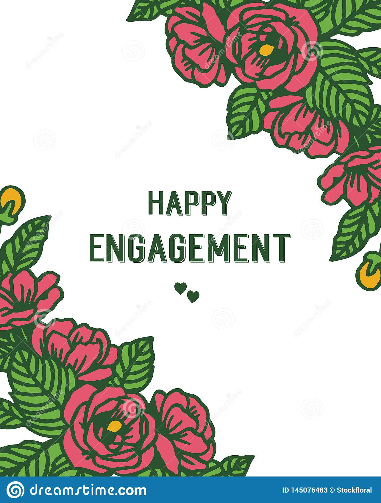 传染媒介愉快的订婚例证花束与设计花圈框架的