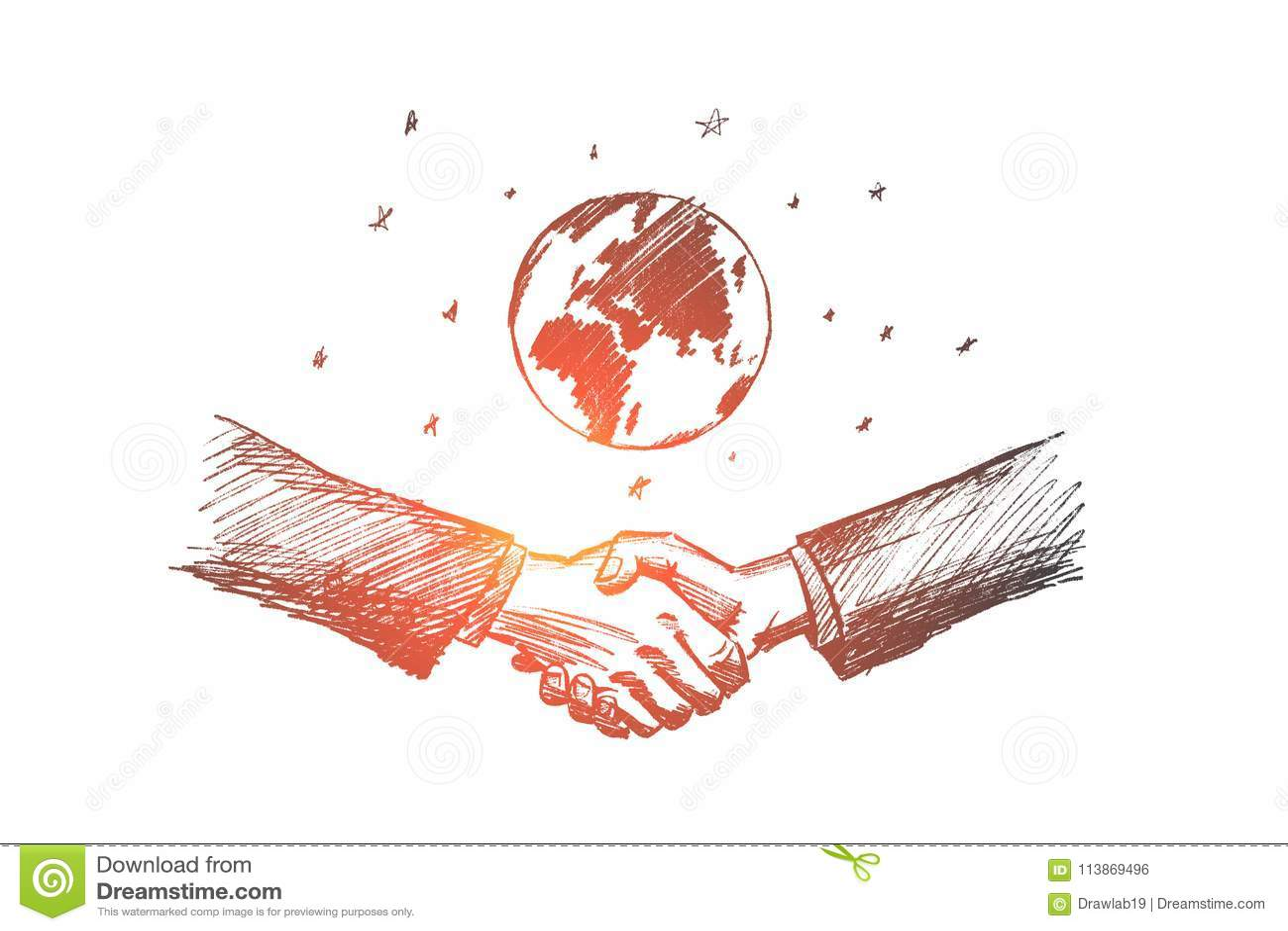 传染媒介手拉的国际企业概念剪影