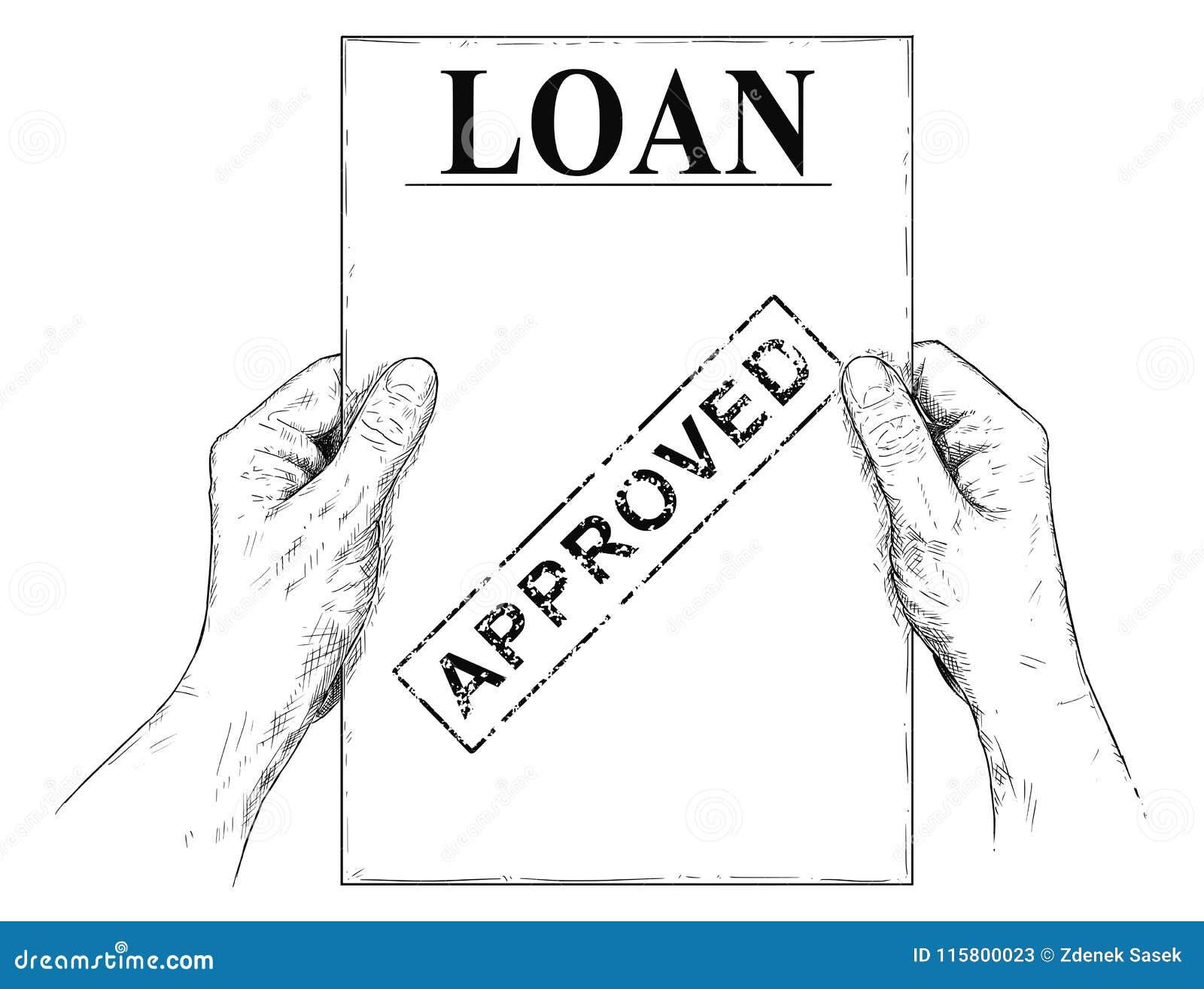 传染媒介拿着批准的借款申请文件的手艺术性的例证或图画
