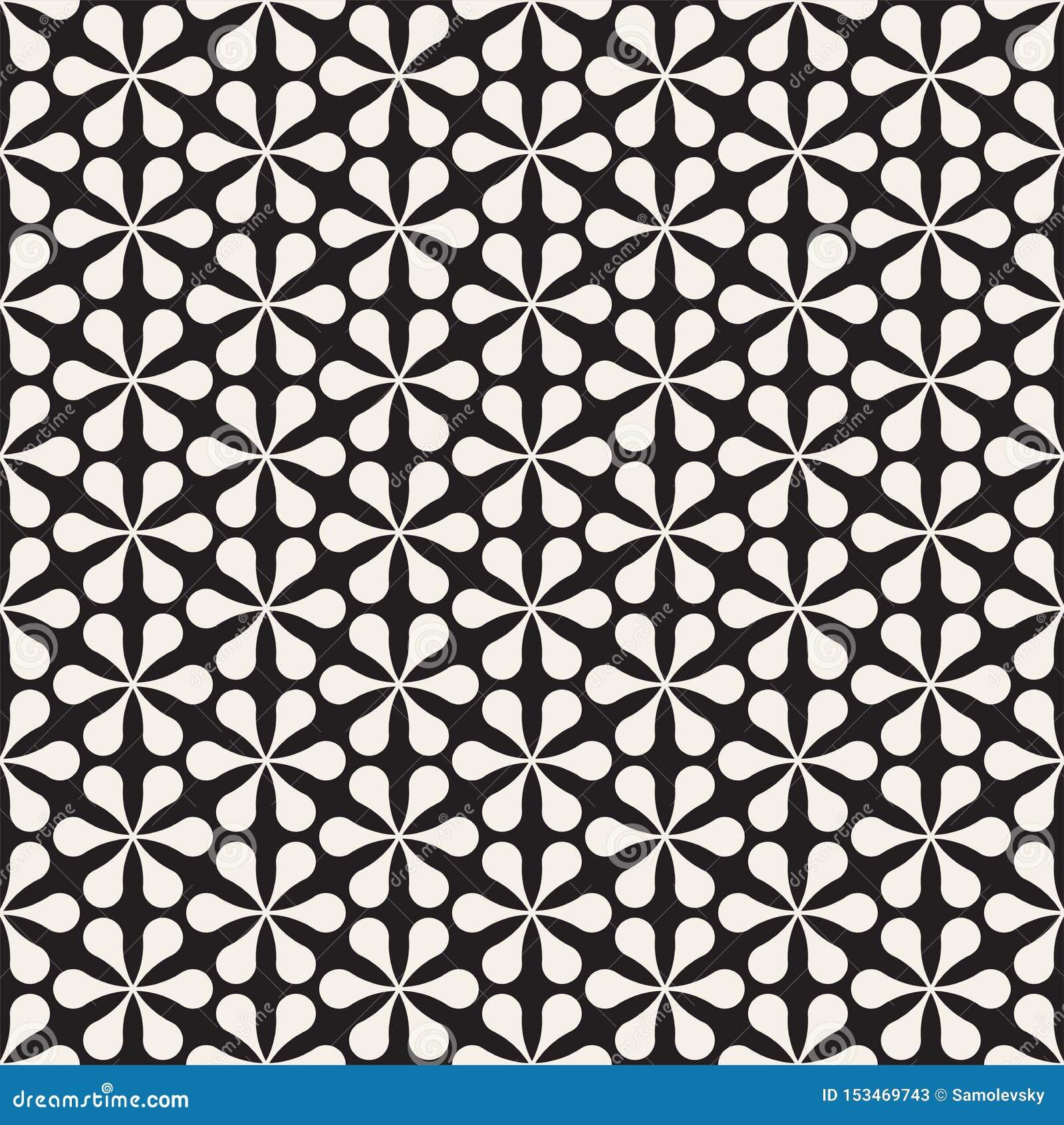 传染媒介无缝的花卉马赛克样式 现代抽象纹理 重复有瓣元素的几何瓦片
