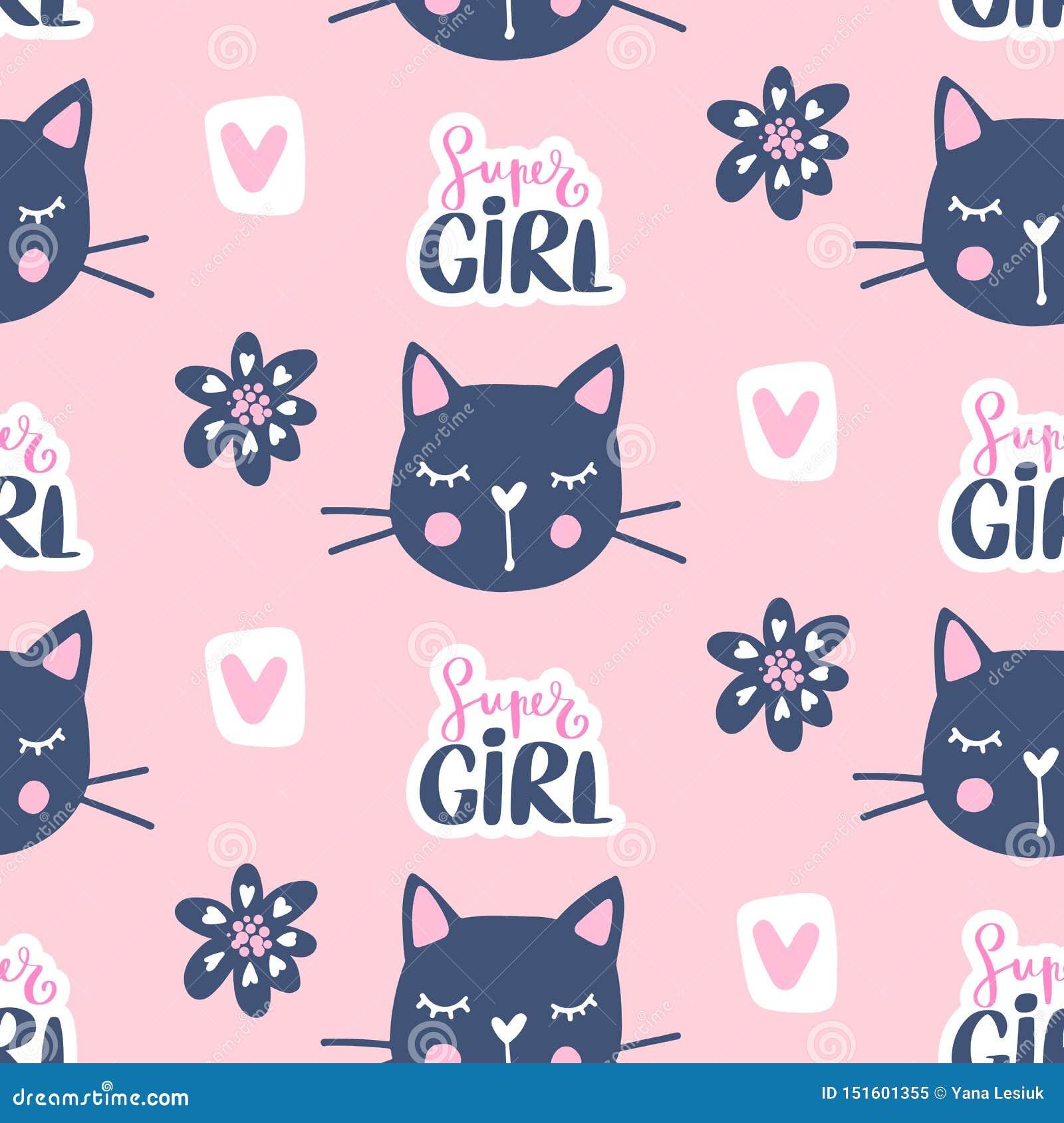 传染媒介时尚猫无缝的样式 在剪影样式的逗人喜爱的小猫例证