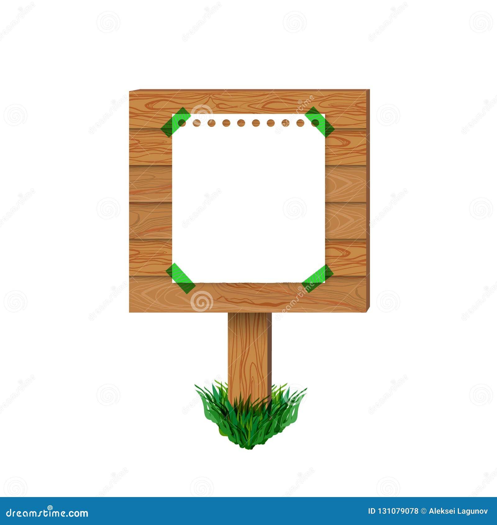传染媒介木标志,在木委员会的纸海报,空白的例证隔绝了