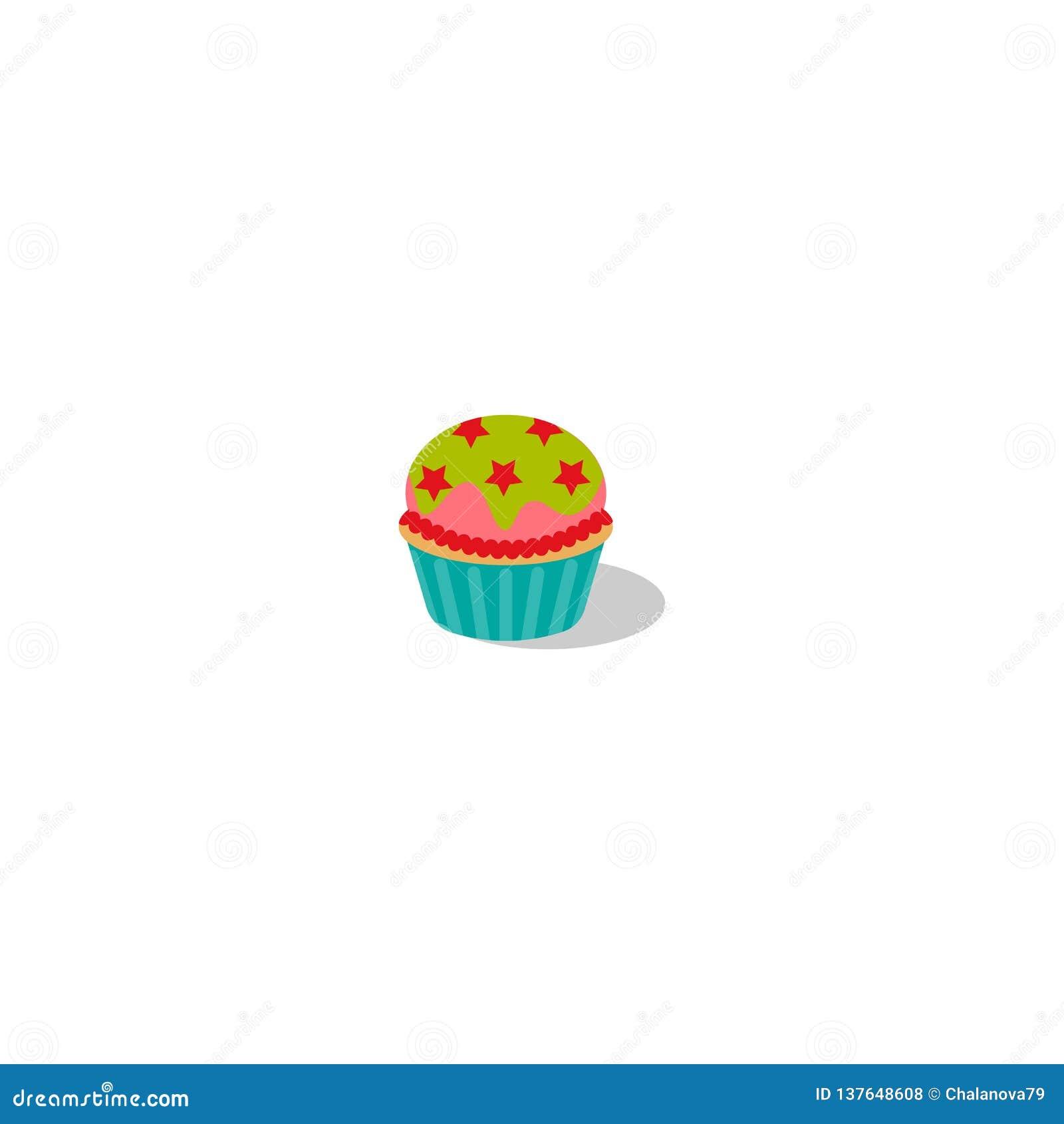 传染媒介杯形蛋糕例证 与奶油的蛋糕 与结冰和星的杯形蛋糕