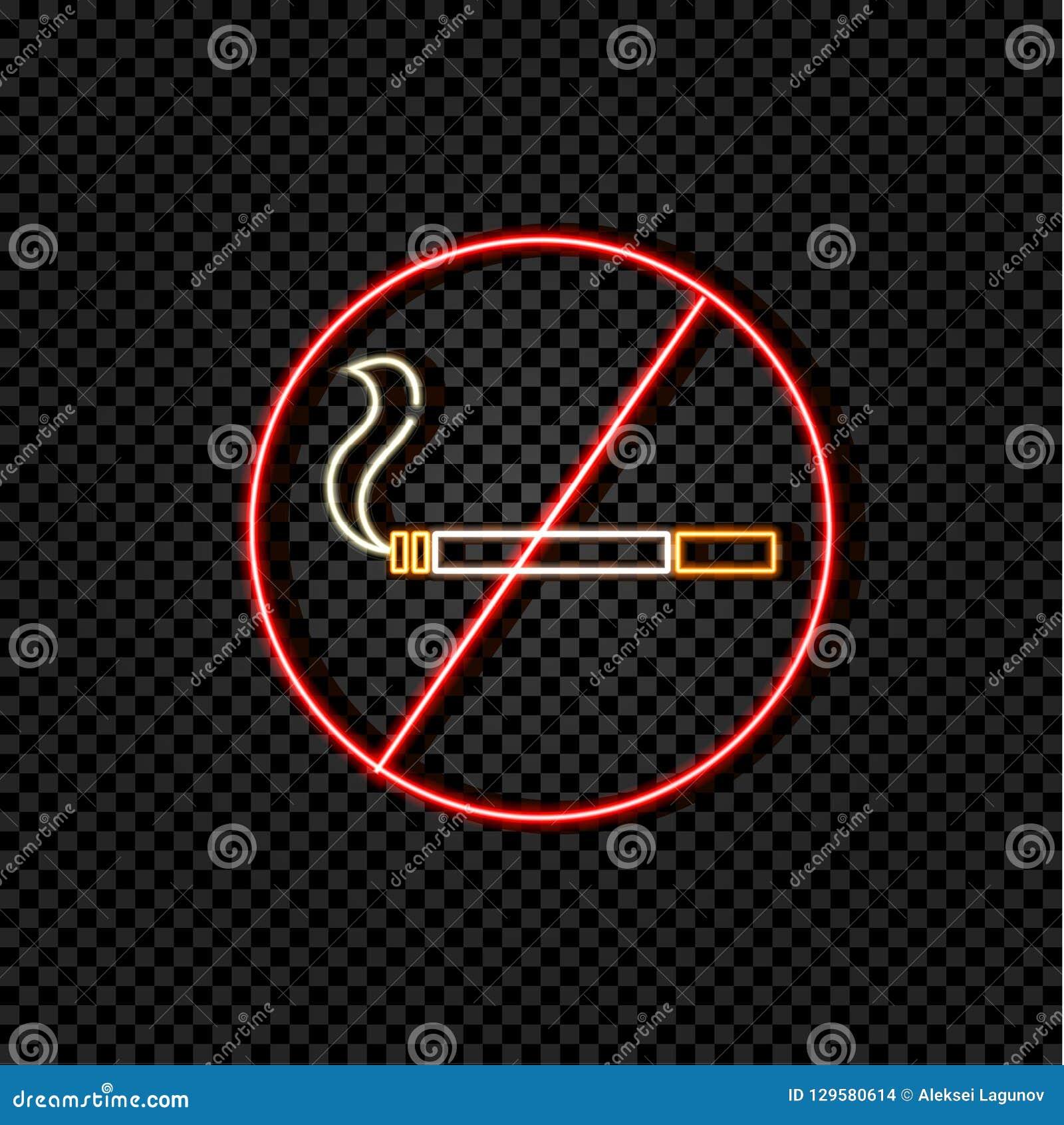 传染媒介氖做不抽烟的标志,五颜六色的例证,横渡的香烟