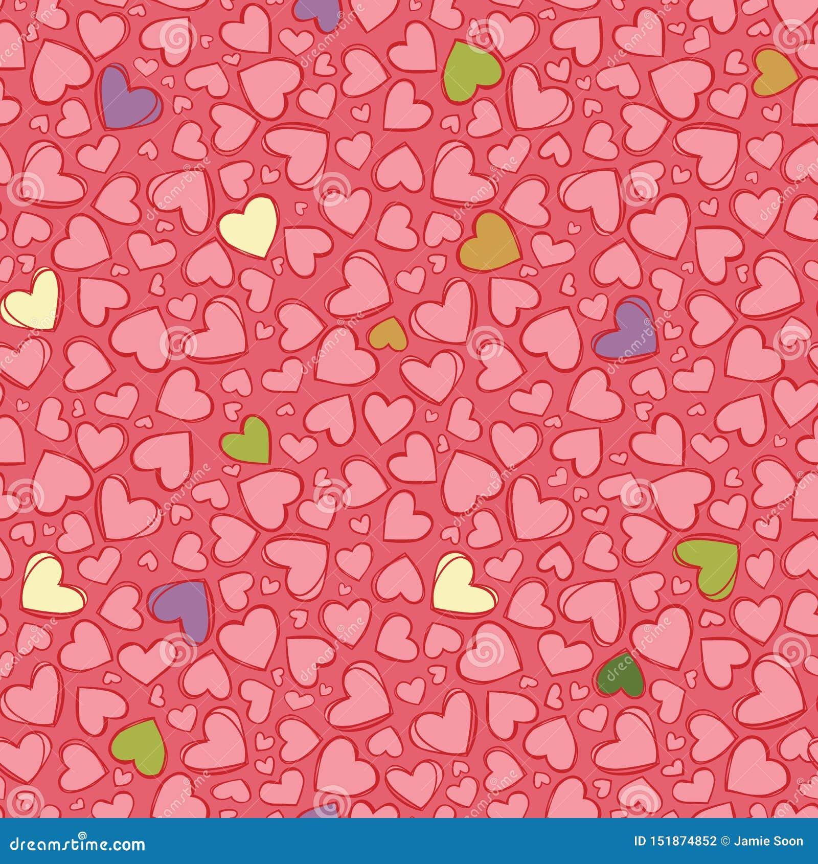 传染媒介浅红色的心脏重复样式 适用于缎带包装、纺织品和墙纸
