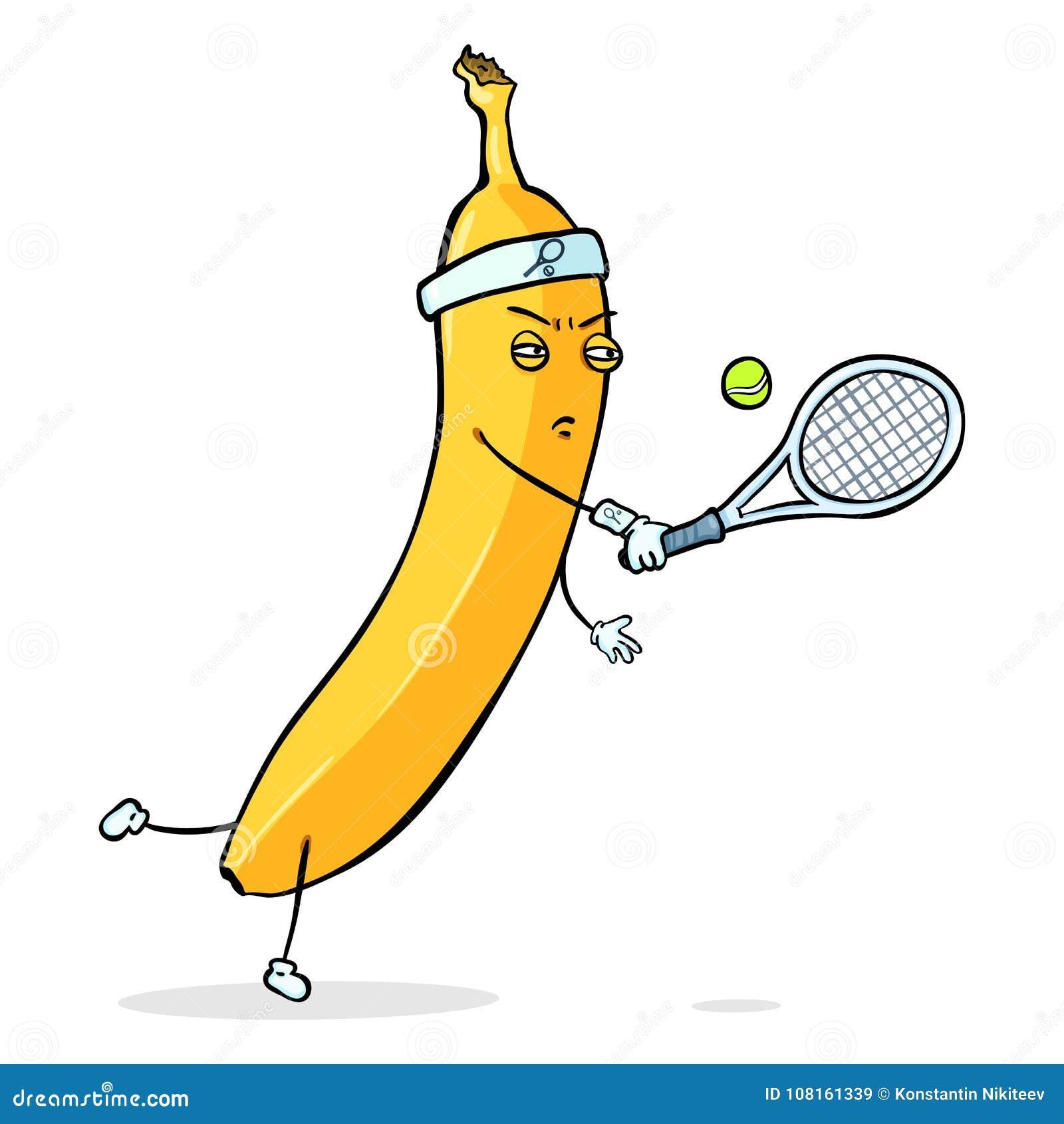 传染媒介漫画人物-打网球的黄色香蕉