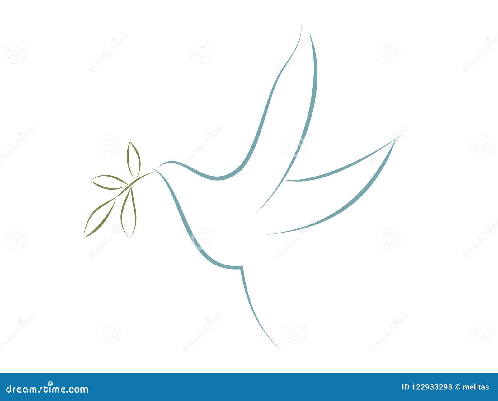 传染媒介潜水与橄榄色的叶子 和平的标志