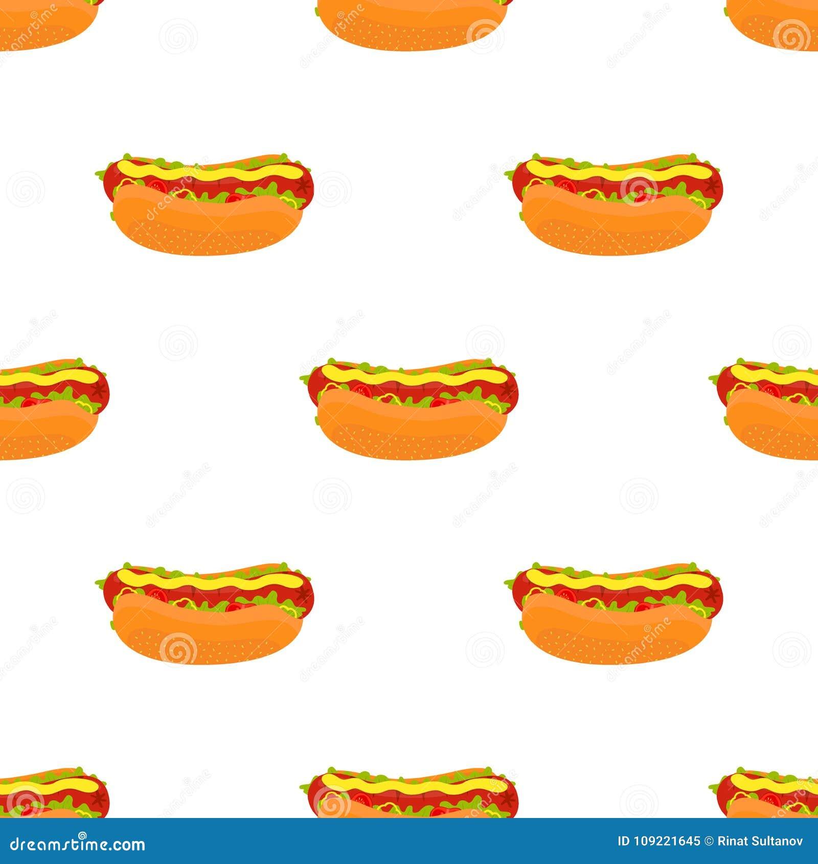 传染媒介热狗无缝的样式 烟熏腊肠快餐 动画片平的样式