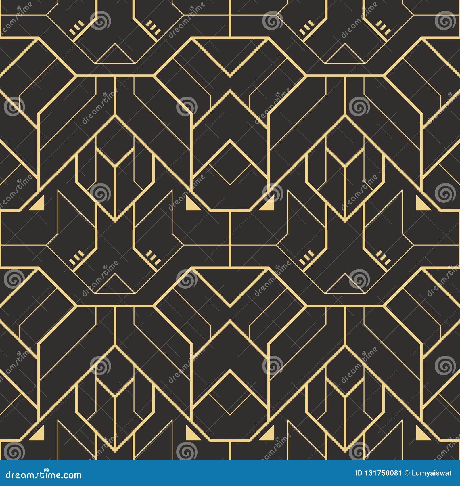 传染媒介现代几何瓦片样式 金黄线形 抽象无缝的豪华背景