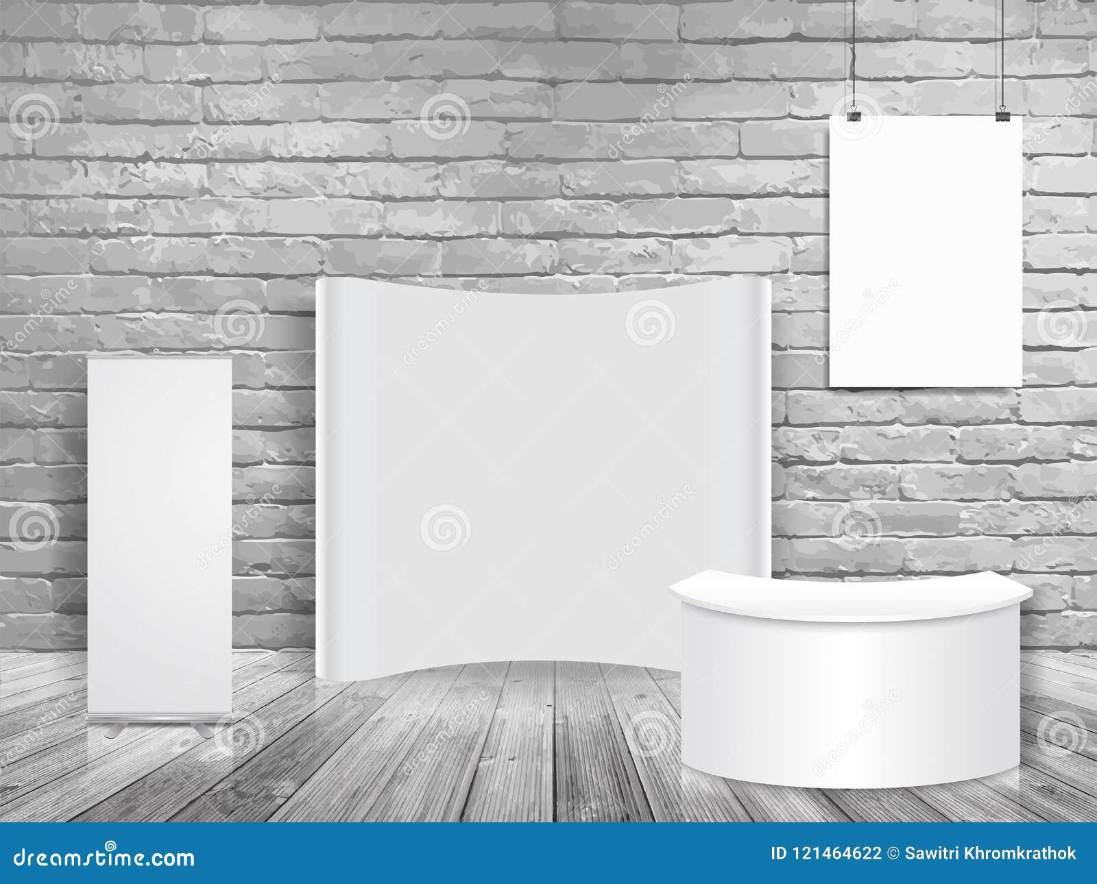 传染媒介空白的陈列商业展览摊嘲笑在白色砖墙室
