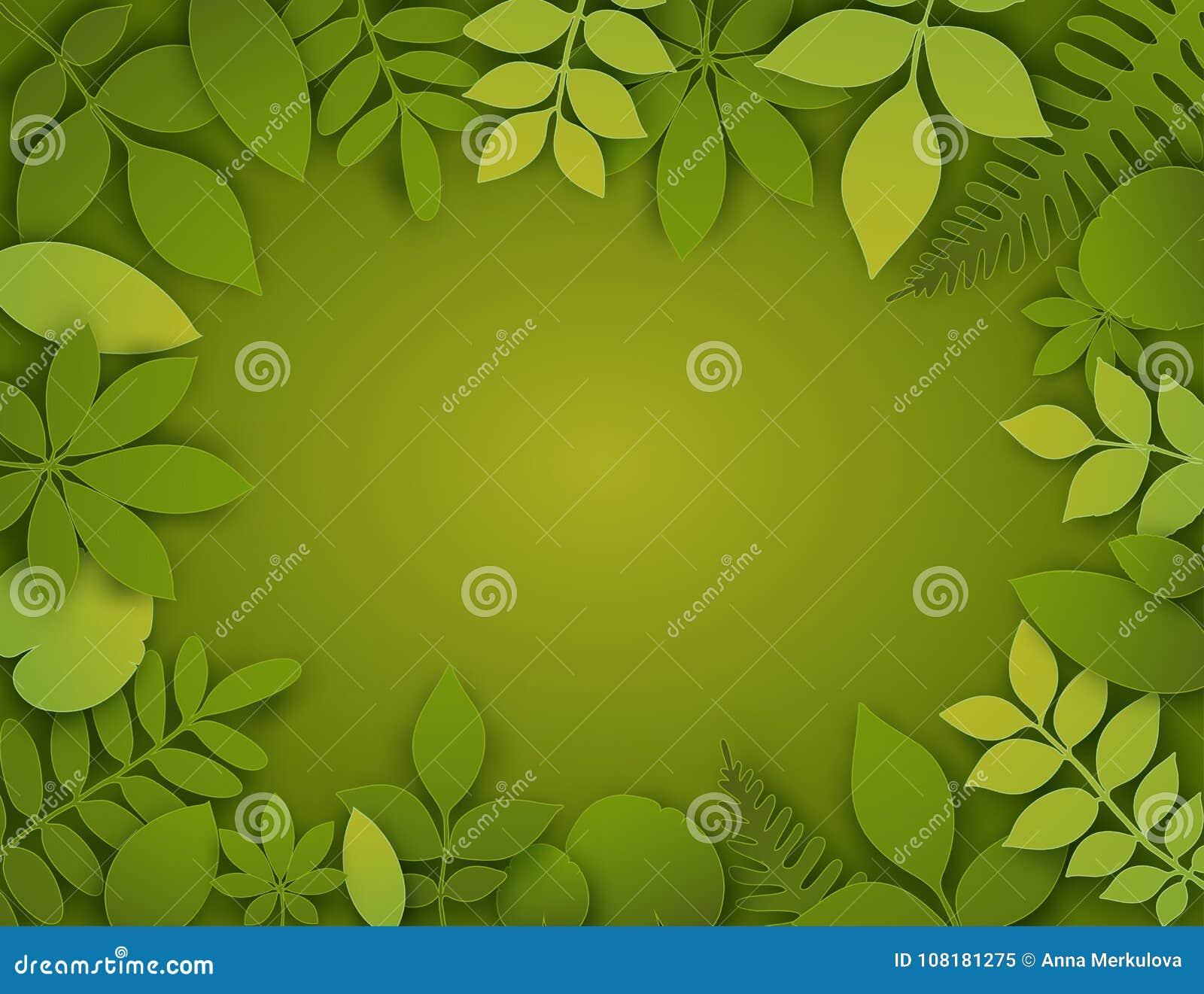 传染媒介纸裁减叶子 热带横幅的夏天