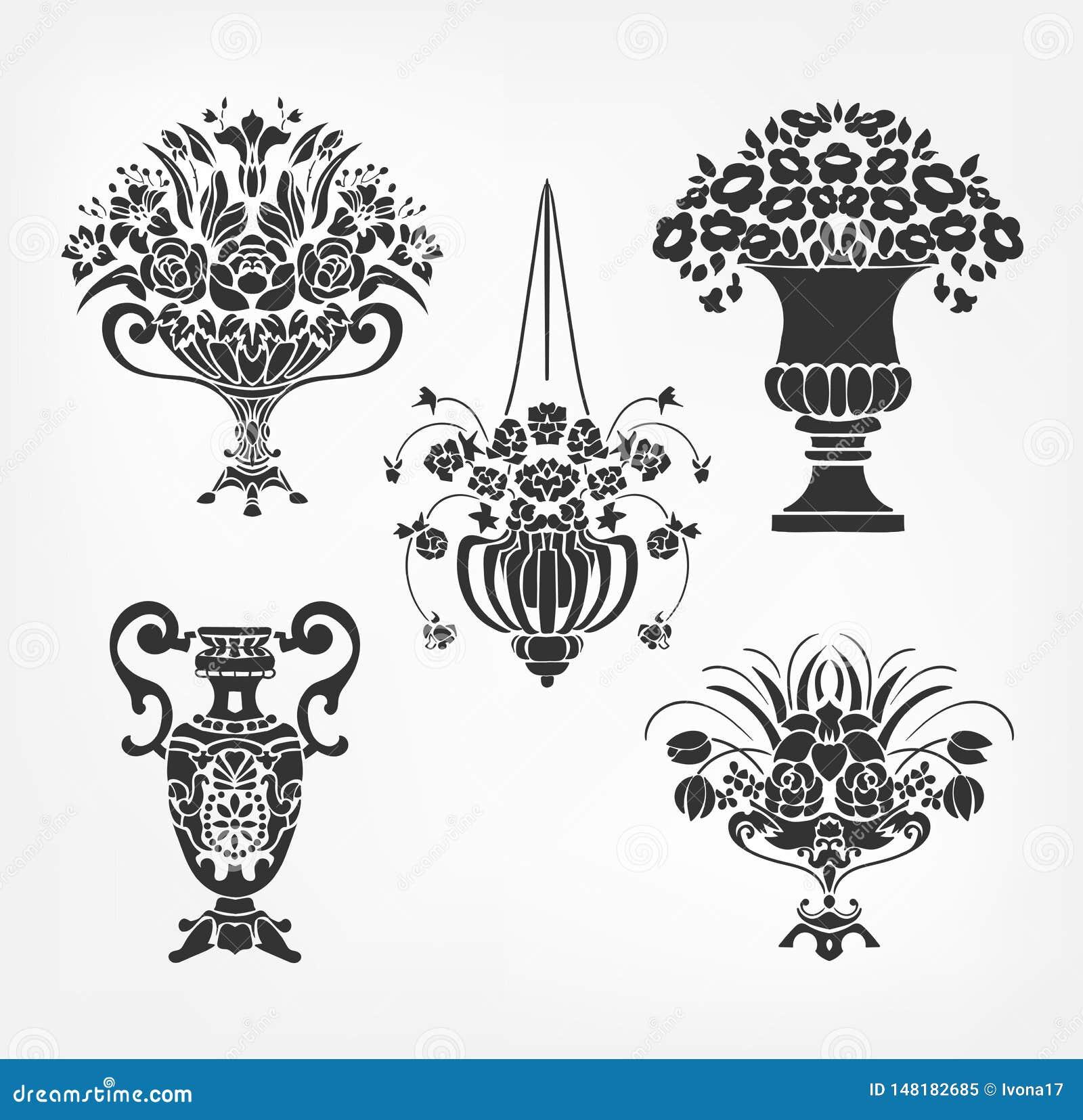 传染媒介维多利亚女王时代的巴洛克式的设计元素花瓶集合