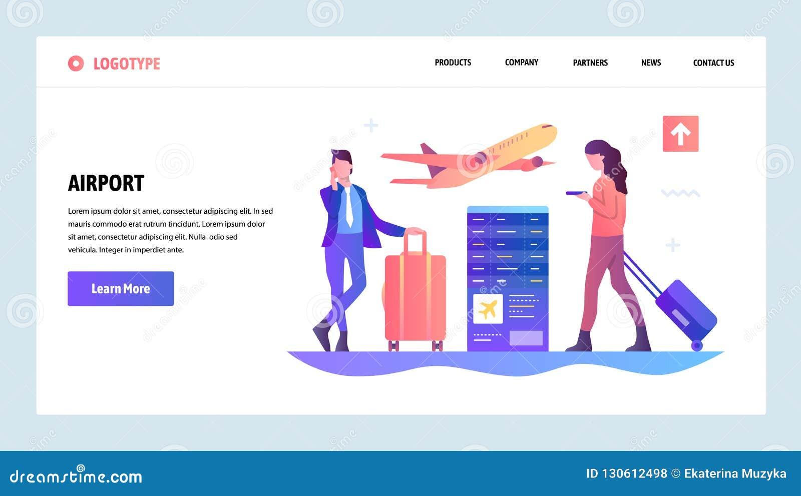 传染媒介网站梯度设计模板 等待飞行的机场终端和乘客 着陆页概念为