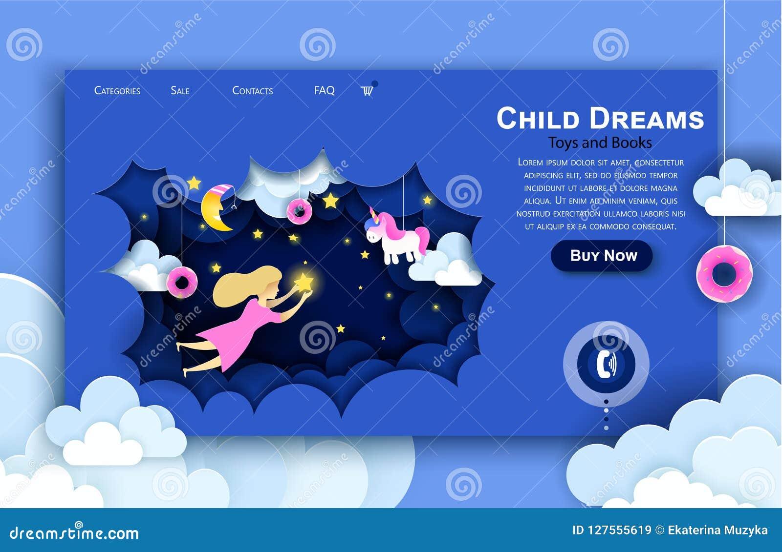 传染媒介网站纸艺术设计模板 接触在天空的孩子星 孩子梦想 着陆页例证