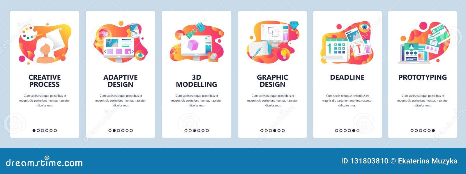 传染媒介网站onboarding的屏幕梯度模板 图形设计、原型,创造性的艺术家和3d塑造