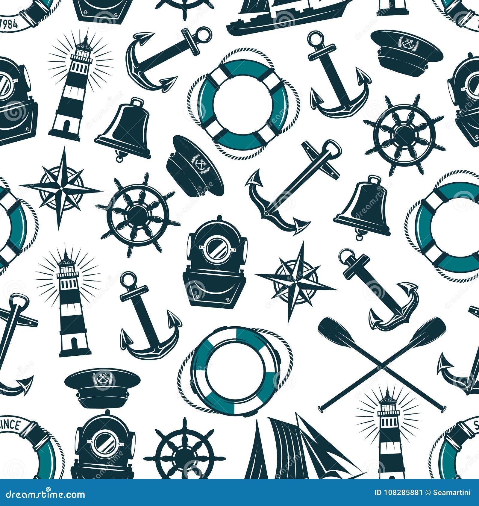 传染媒介船舶海洋纹章学无缝的样式