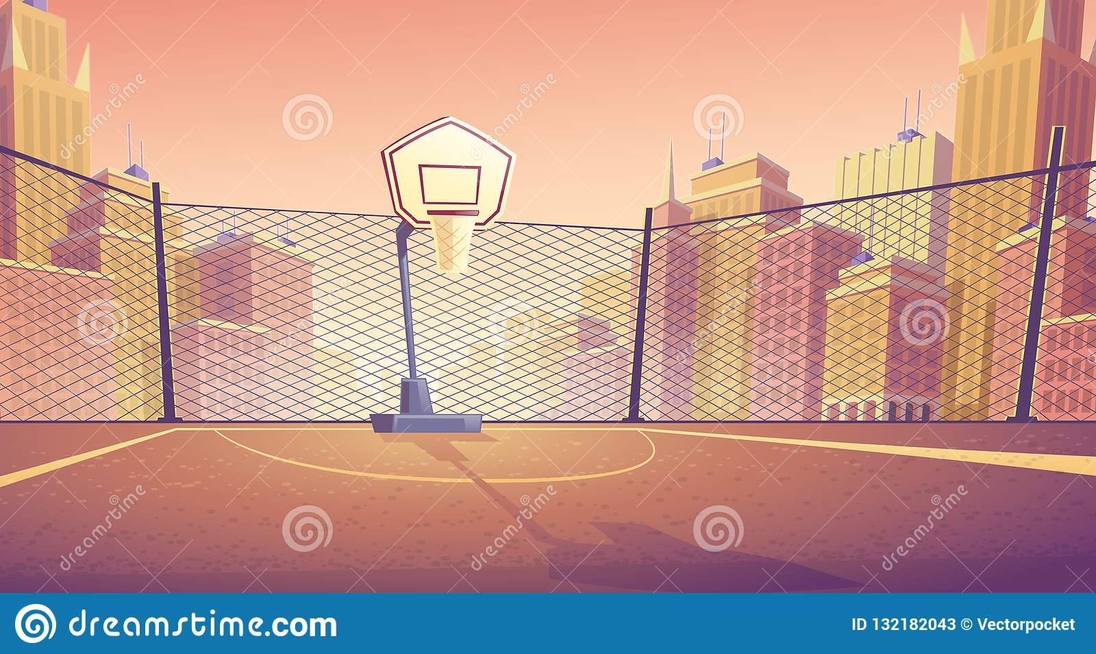 传染媒介街道篮球场动画片背景
