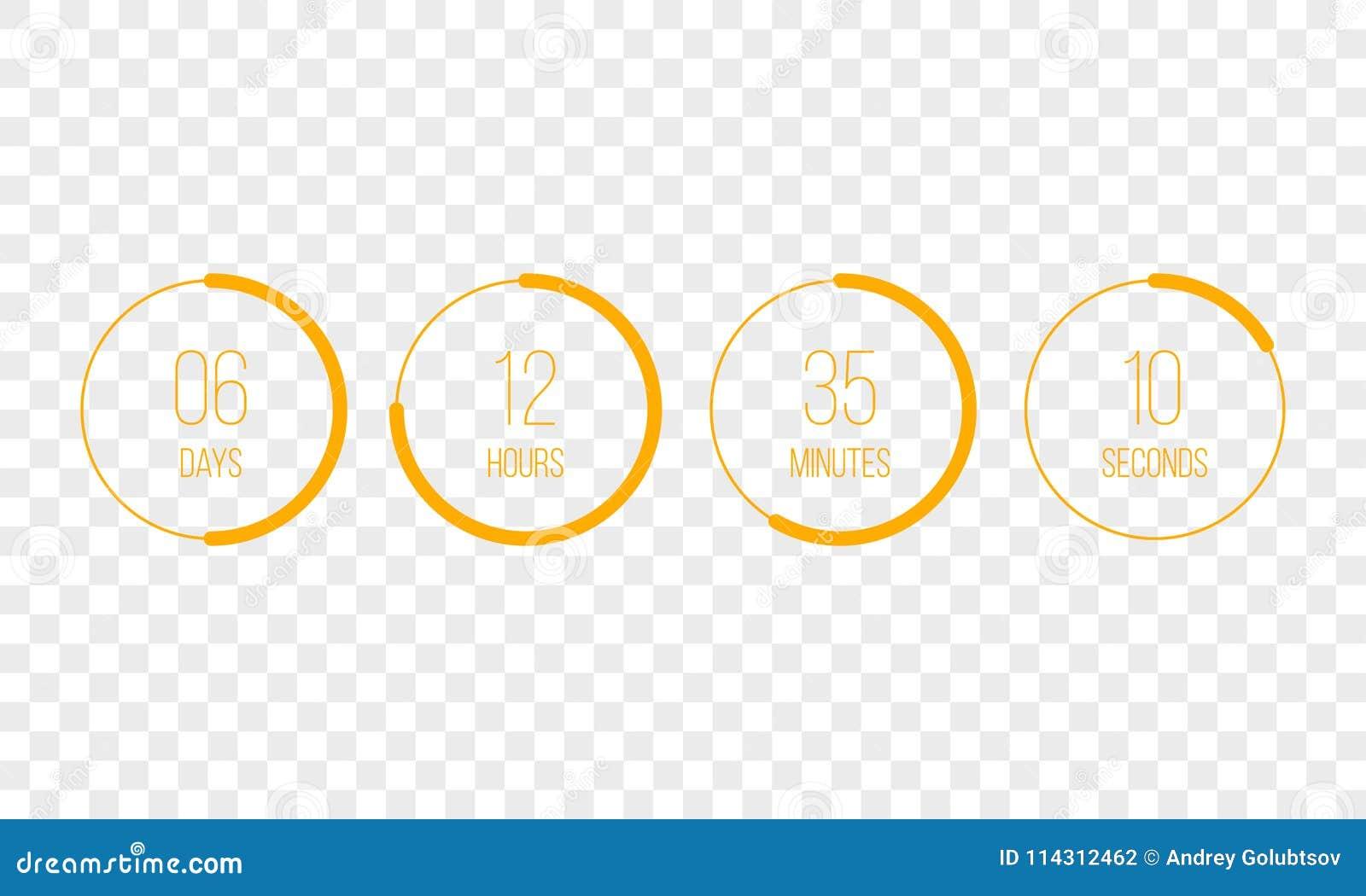传染媒介读秒时钟计数器定时器 UI数字式计数下来盘旋委员会米与圈子时间圆形图