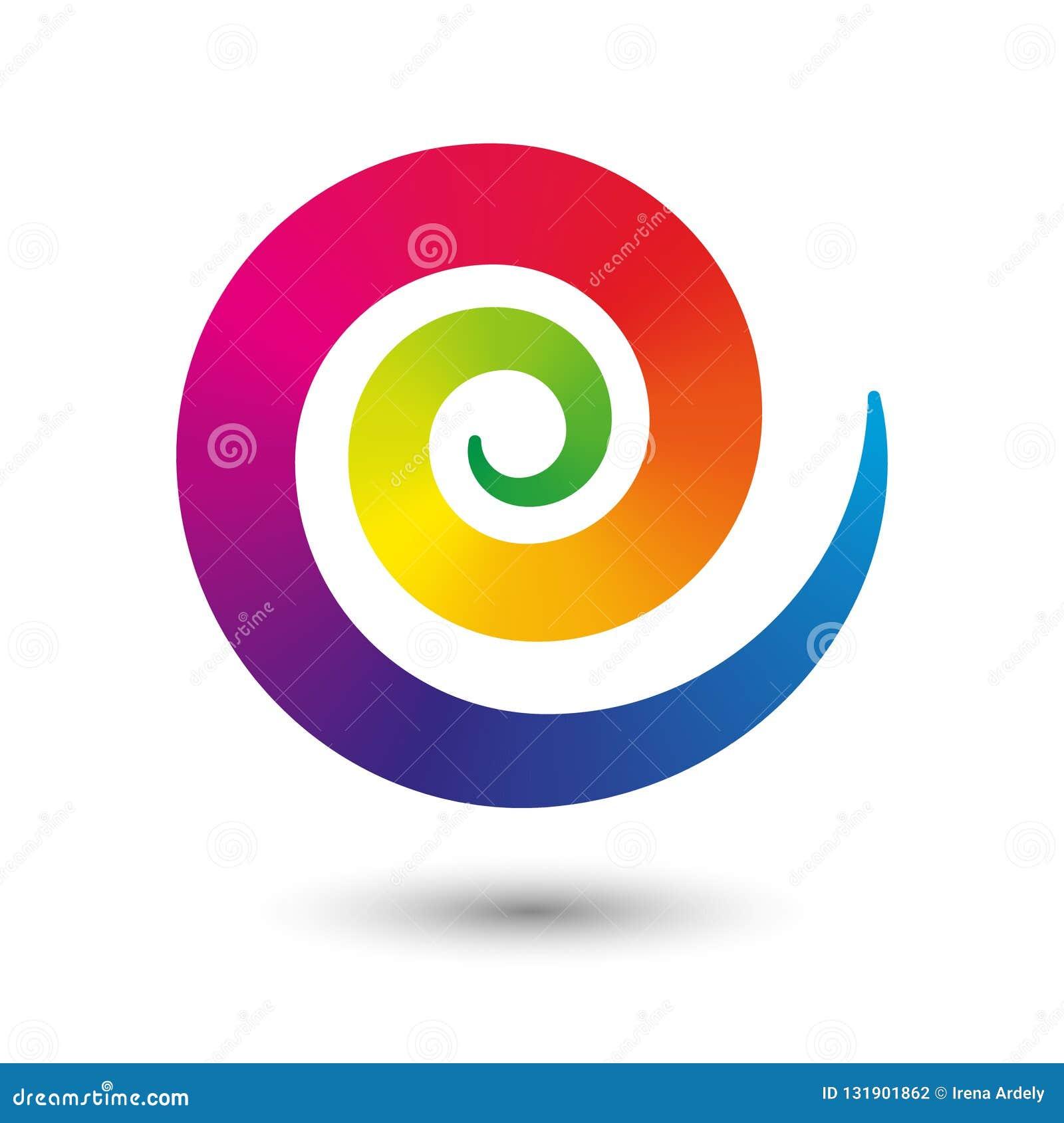 传染媒介象在与完整色彩的阴影的白色背景在平的设计的隔绝的灵活的转动中心的螺旋标志-