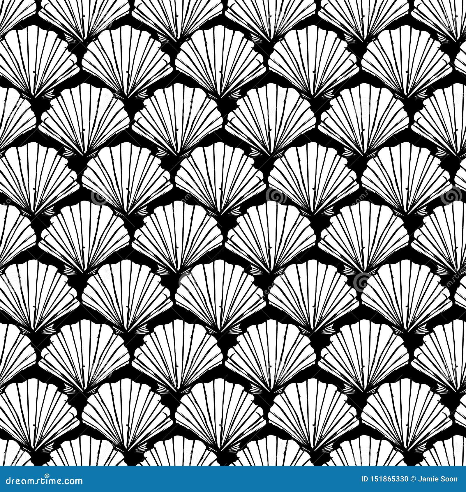 传染媒介黑白贝壳重复样式 适用于缎带包装、纺织品和墙纸
