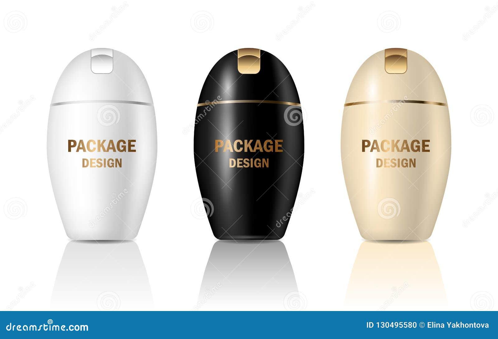 传染媒介3d设置了包装的奶油的,香波,肥皂,化妆用品产品大模型塑料光滑的现实瓶子容器 广告的设计