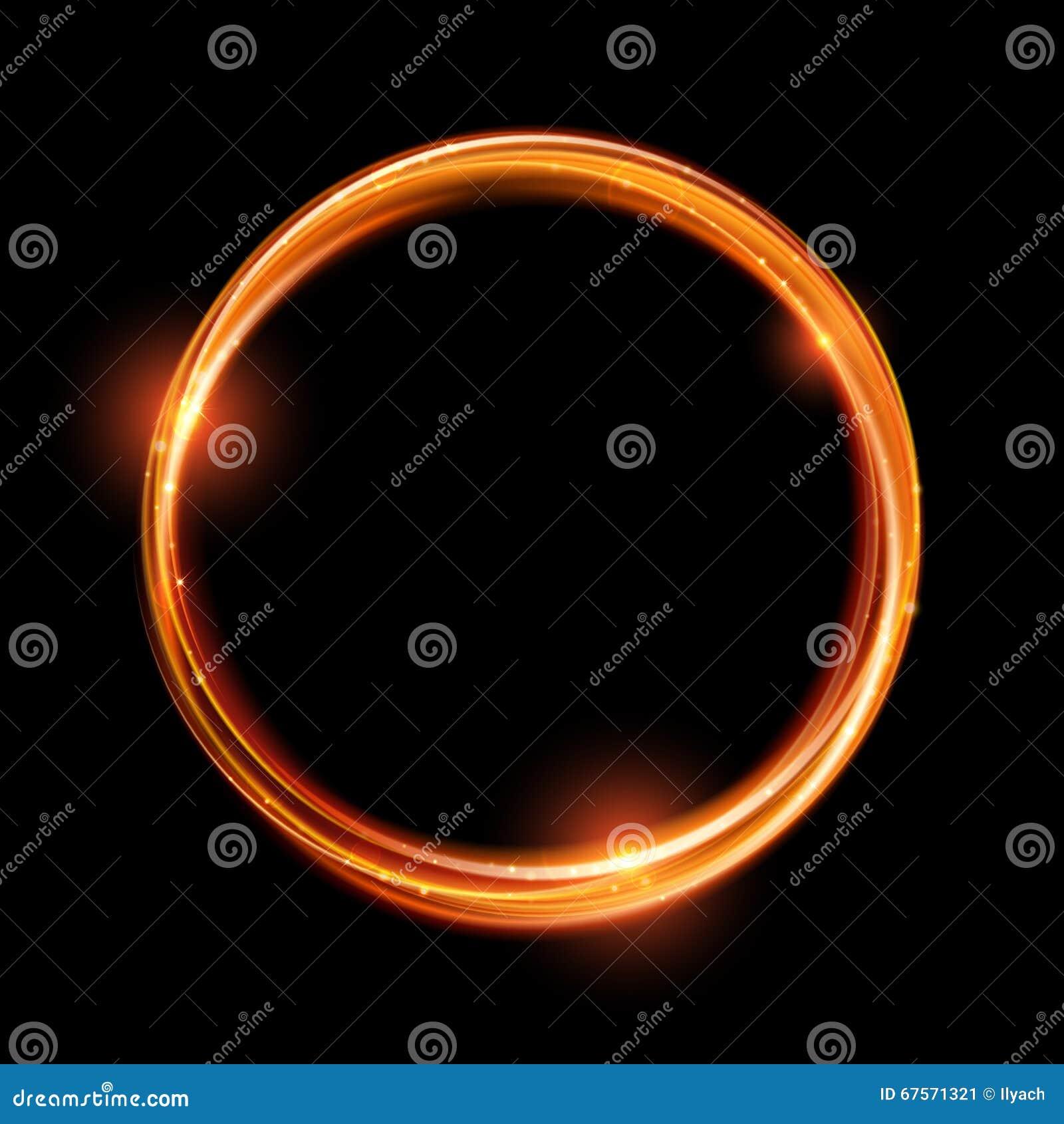 传染媒介不可思议的金圈子 发光的火圆环 闪烁闪闪发光漩涡