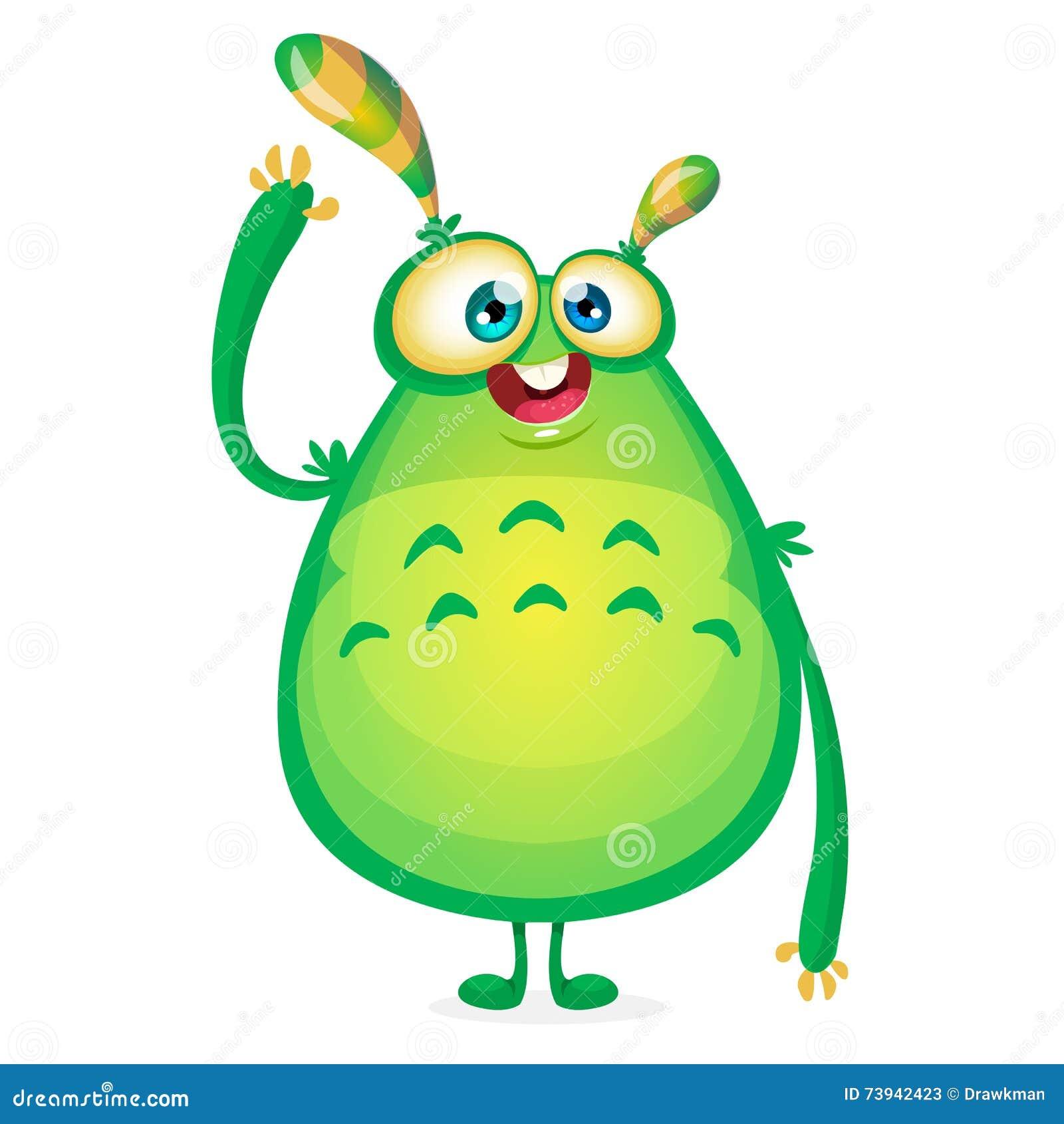 传染媒介动画片外籍人说你好 有触手的绿色黏的外籍人妖怪 愉快万圣夜绿色妖怪挥动