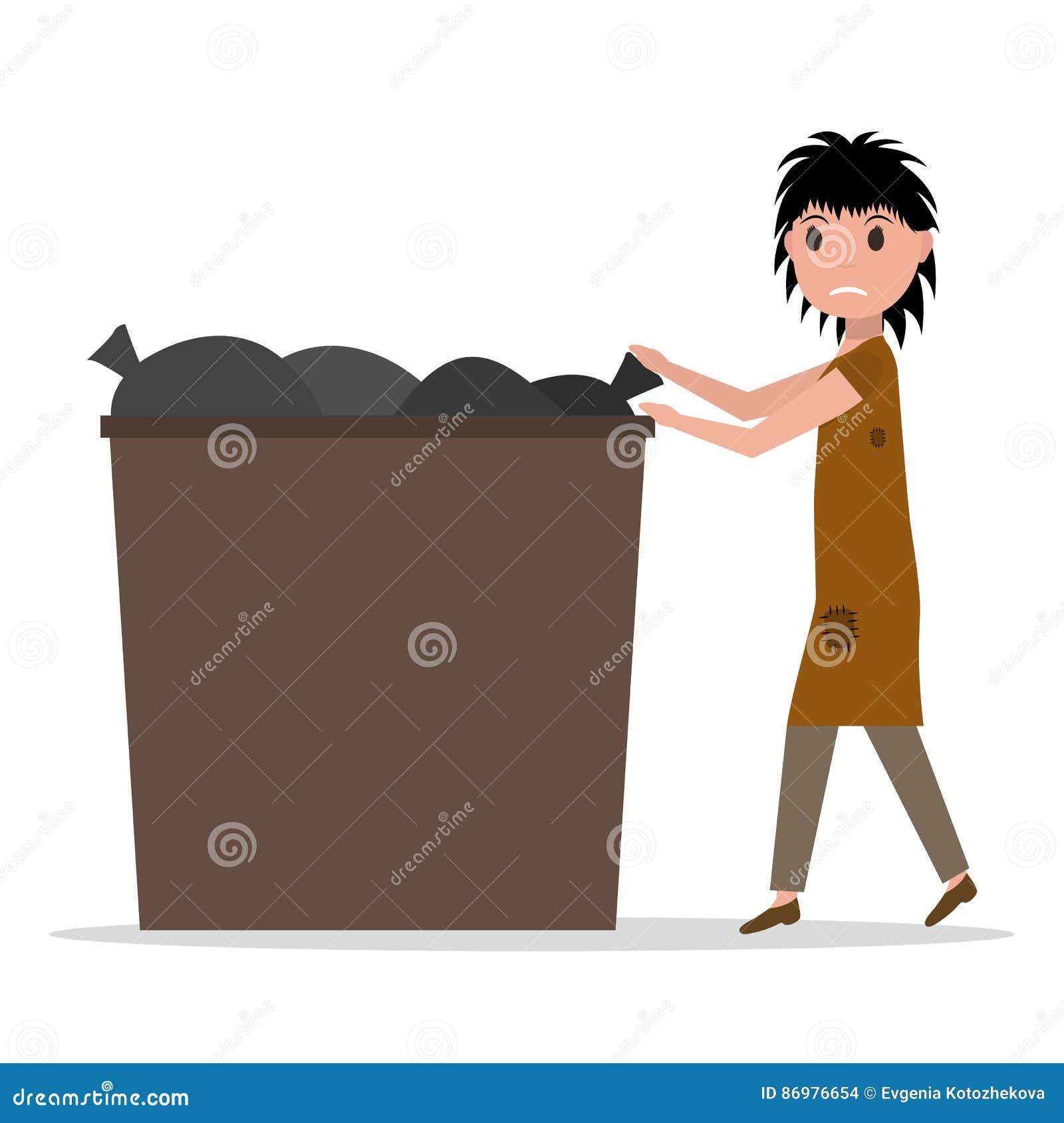 传染媒介动画片流浪汉叫化子失业的妇女大型垃圾桶