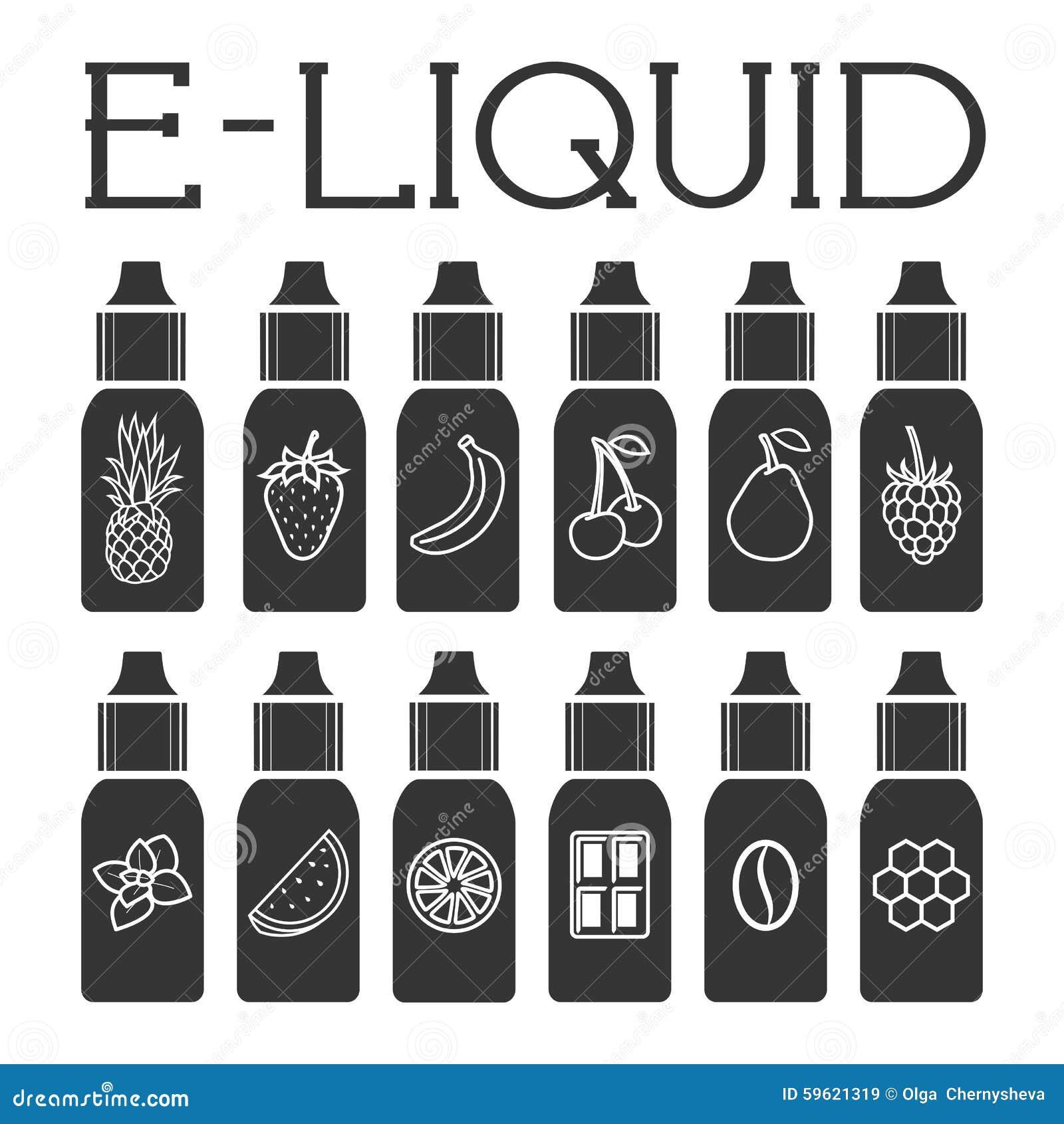 传染媒介另外味道的E液体例证