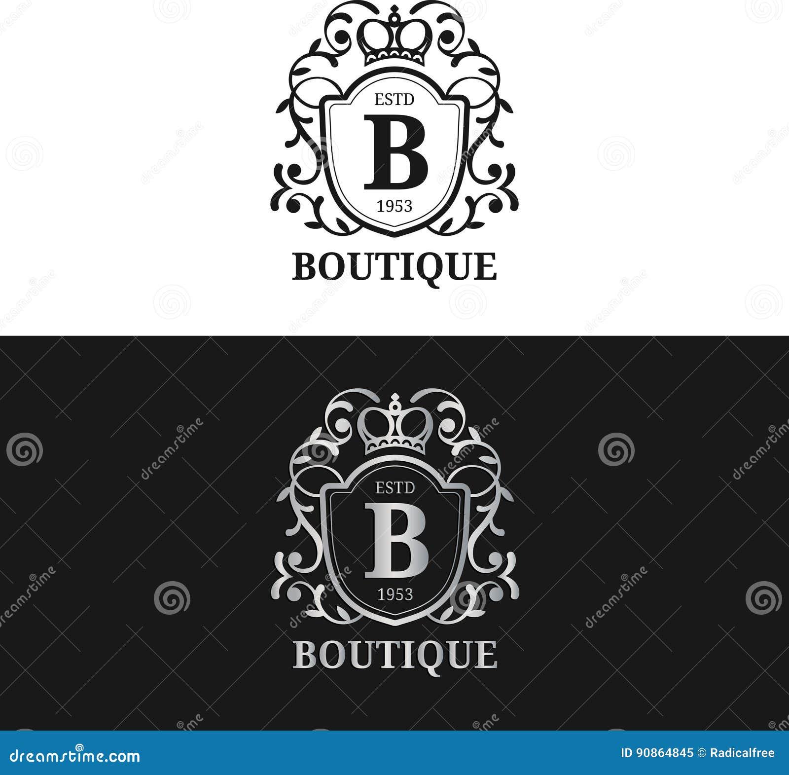 传染媒介组合图案商标模板 豪华书信设计 与冠例证的优美的葡萄酒字符