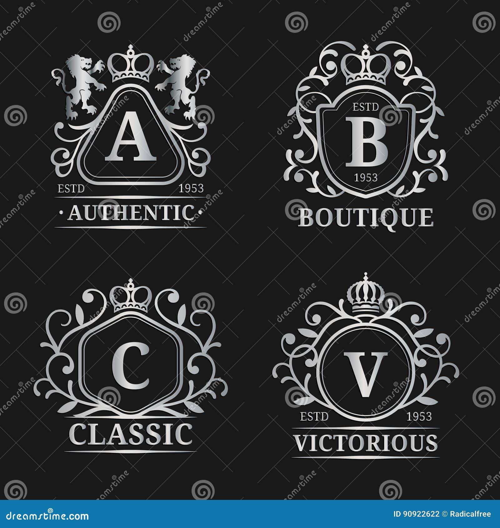 传染媒介组合图案商标模板 豪华书信设计 与冠和狮子例证的优美的葡萄酒字符