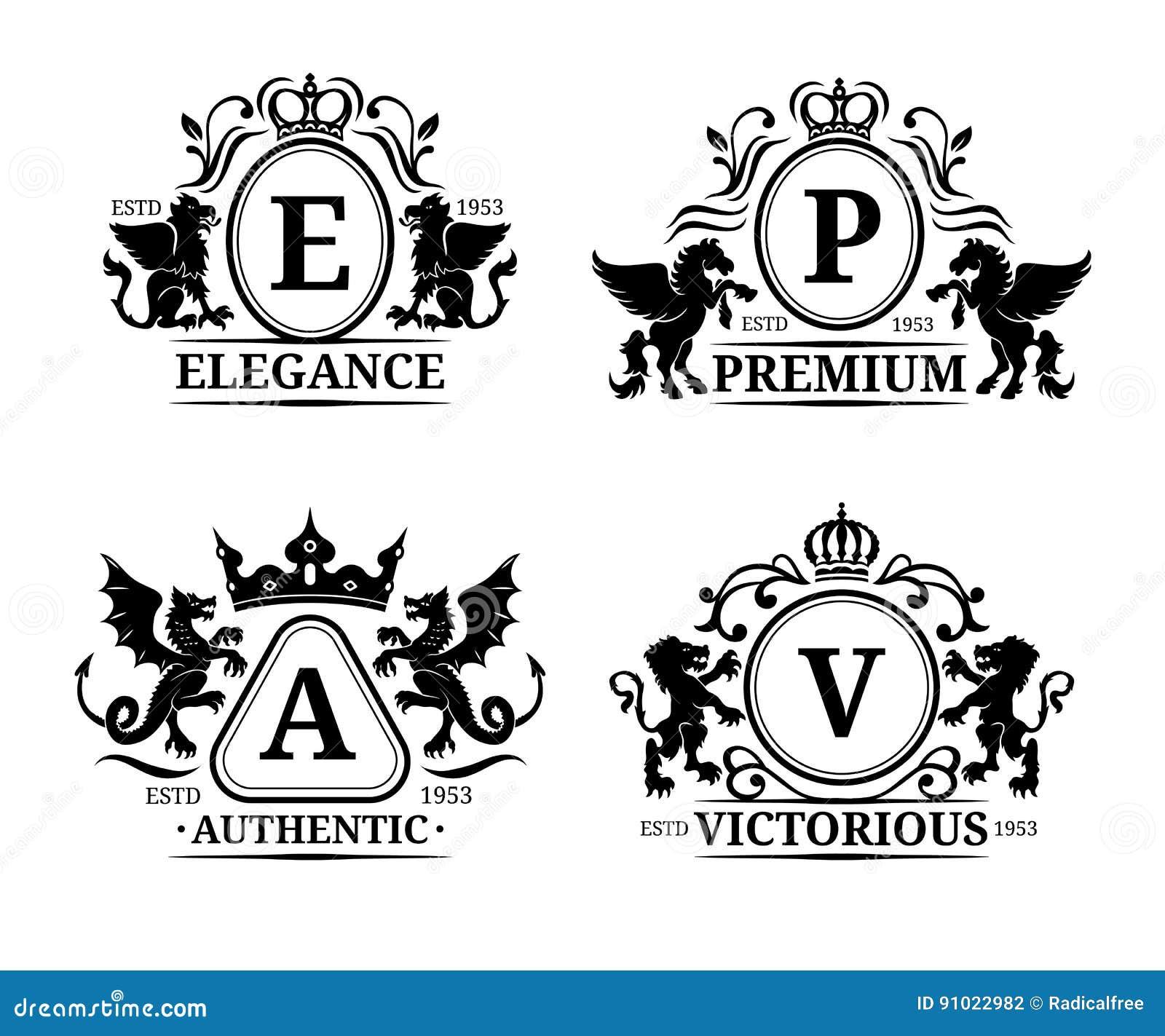 传染媒介组合图案商标模板 豪华书信设计 与动物剪影例证的优美的葡萄酒字符