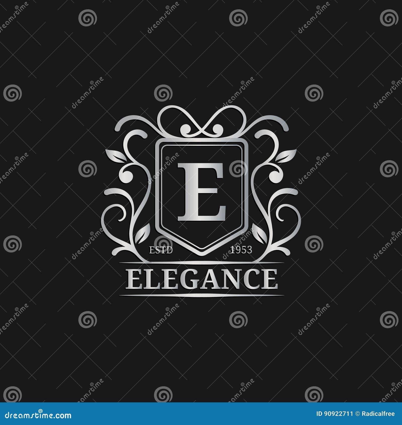 传染媒介组合图案商标模板 豪华书信设计 优美的葡萄酒字符例证 使用为旅馆等