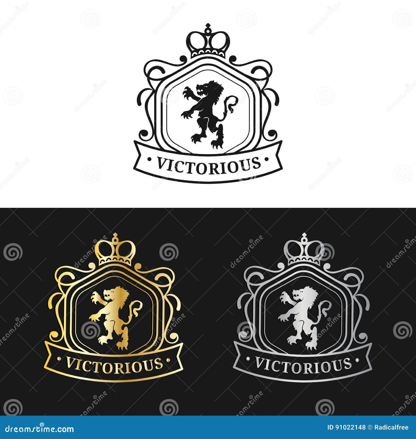 传染媒介组合图案商标模板 豪华冠设计 优美的葡萄酒狮子剪影 使用为旅馆,餐馆等
