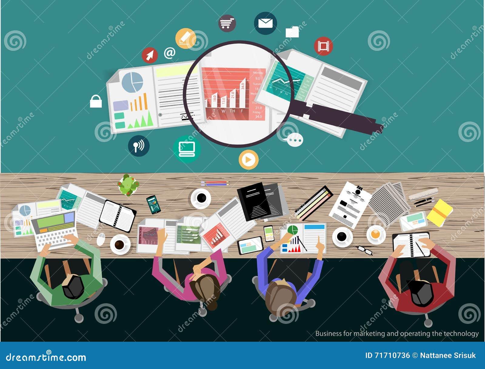 传染媒介商人激发灵感 平的项目管理经营分析的设计现代传染媒介例证概念