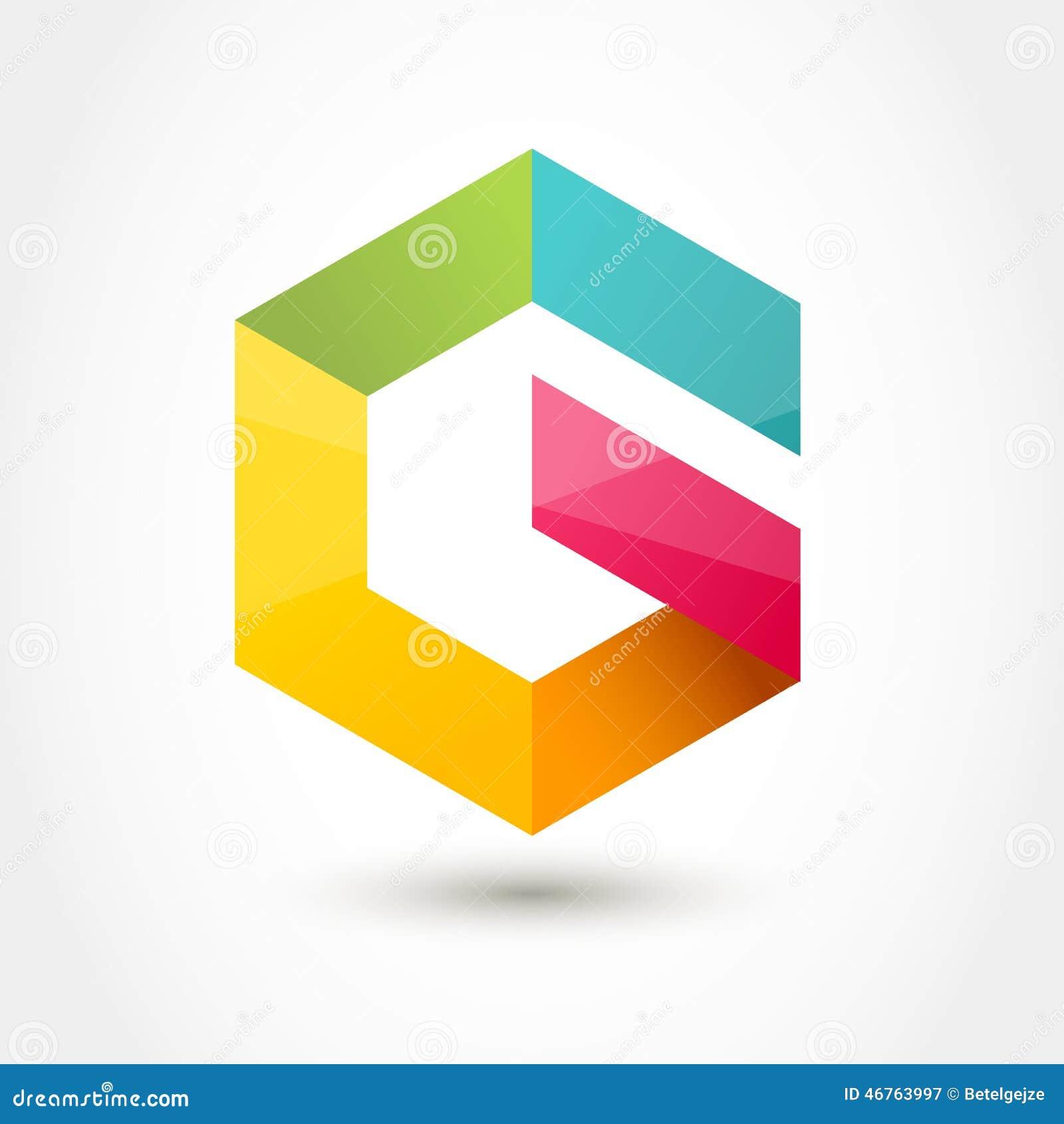 �yg��+���_传染媒介商标设计模板 五颜六色的六角形无限圈shap