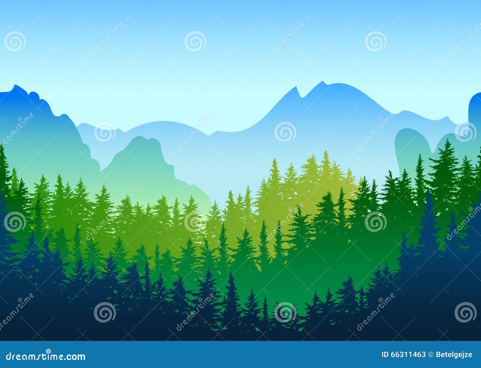 传染媒介夏天或春天风景 山全景