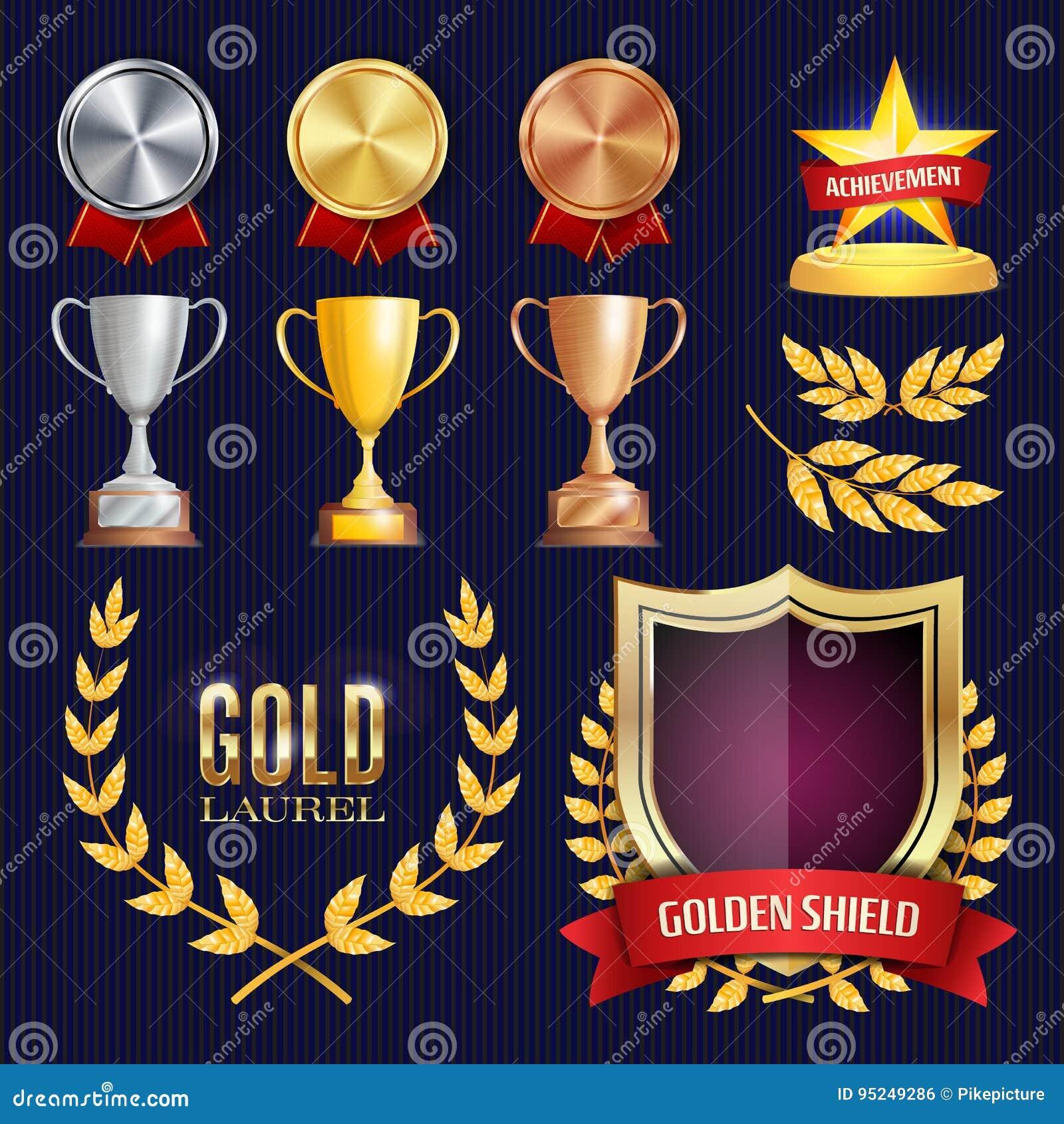 传染媒介奖和战利品汇集 金黄徽章和标签 冠军设计 第1,第2,第3个地方 金黄