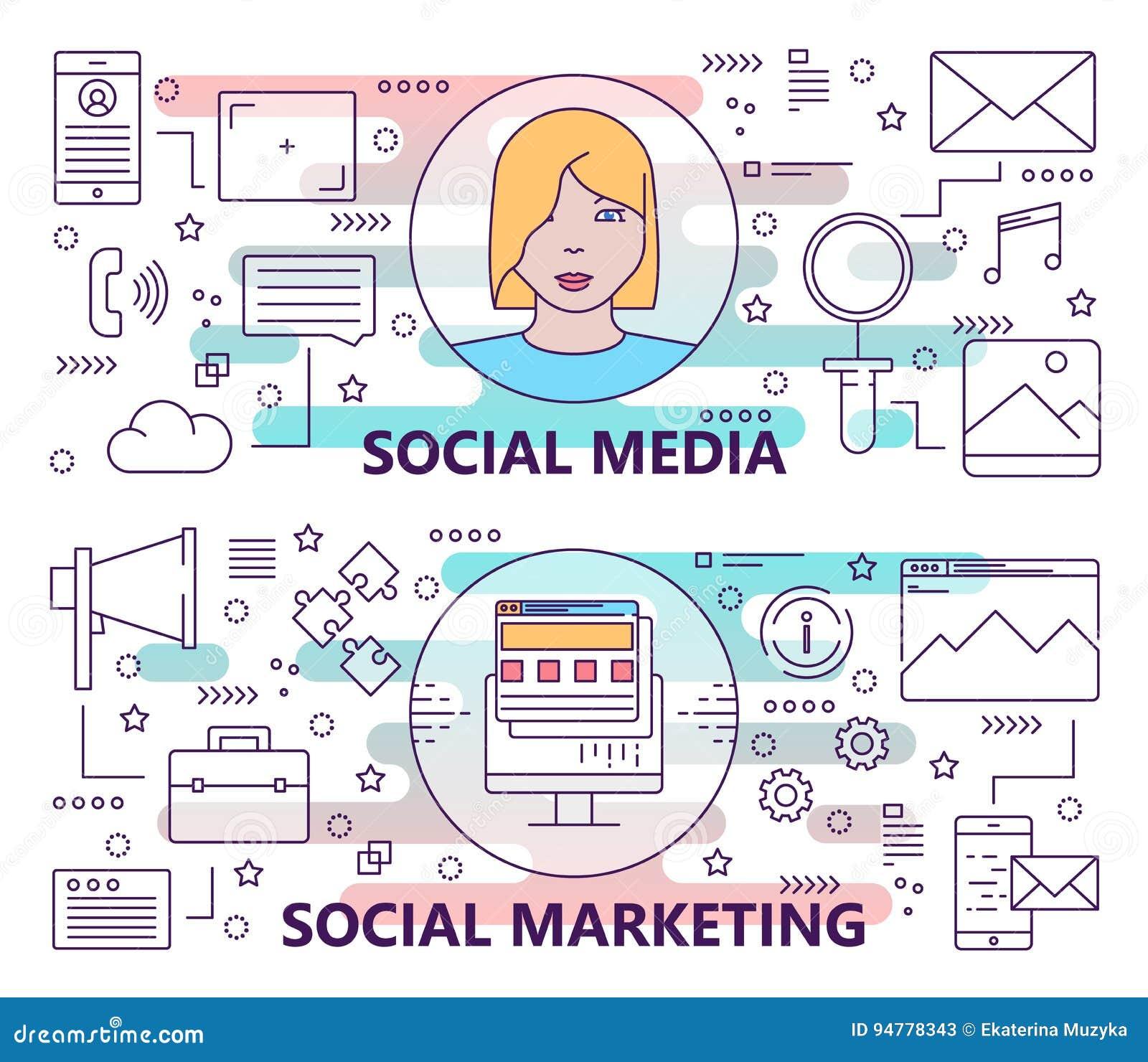 传染媒介套与社会媒介和社会营销概念模板的横幅 现代稀薄的线平的设计元素