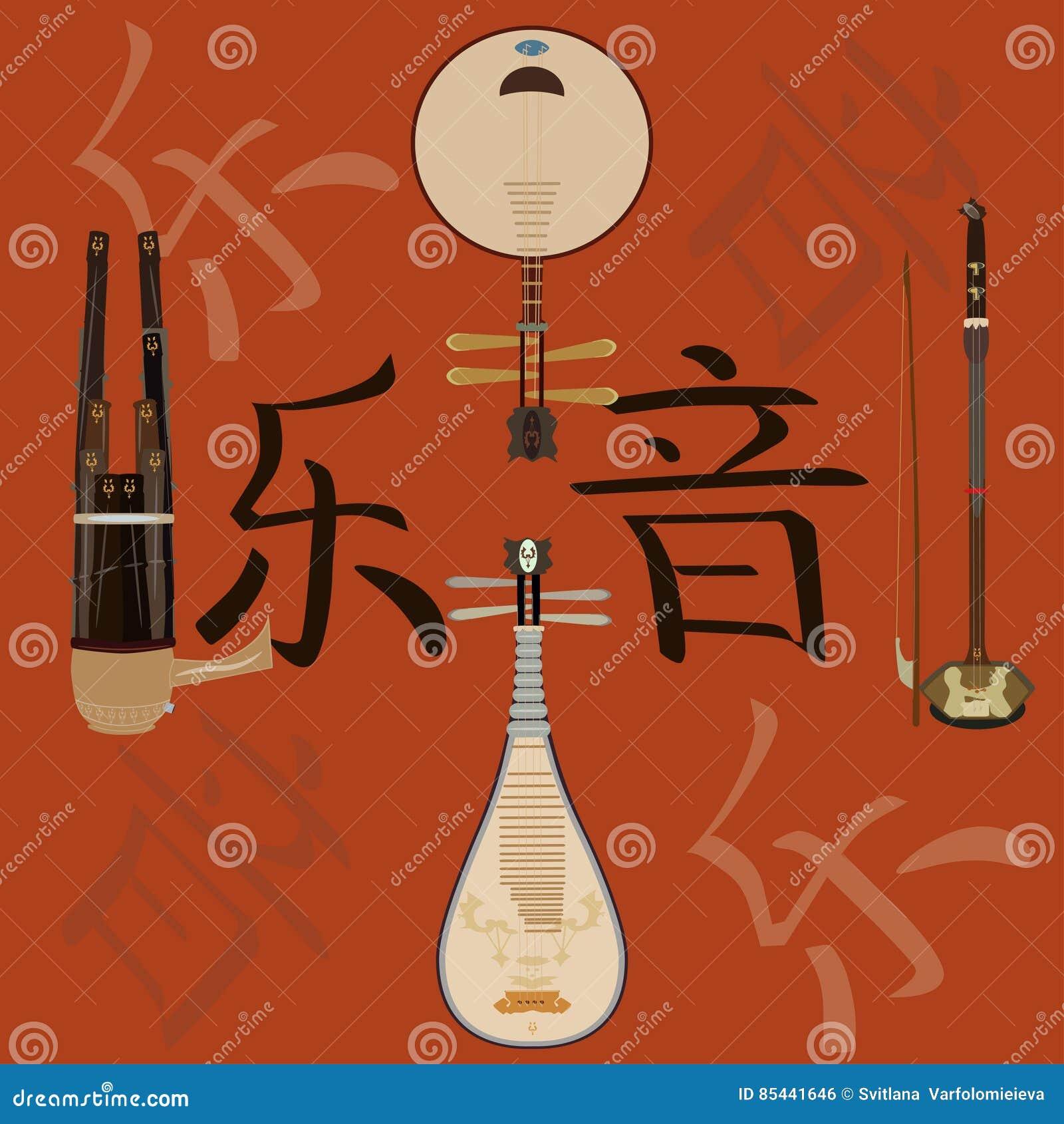传染媒介套中国乐器和音乐象形文字背景