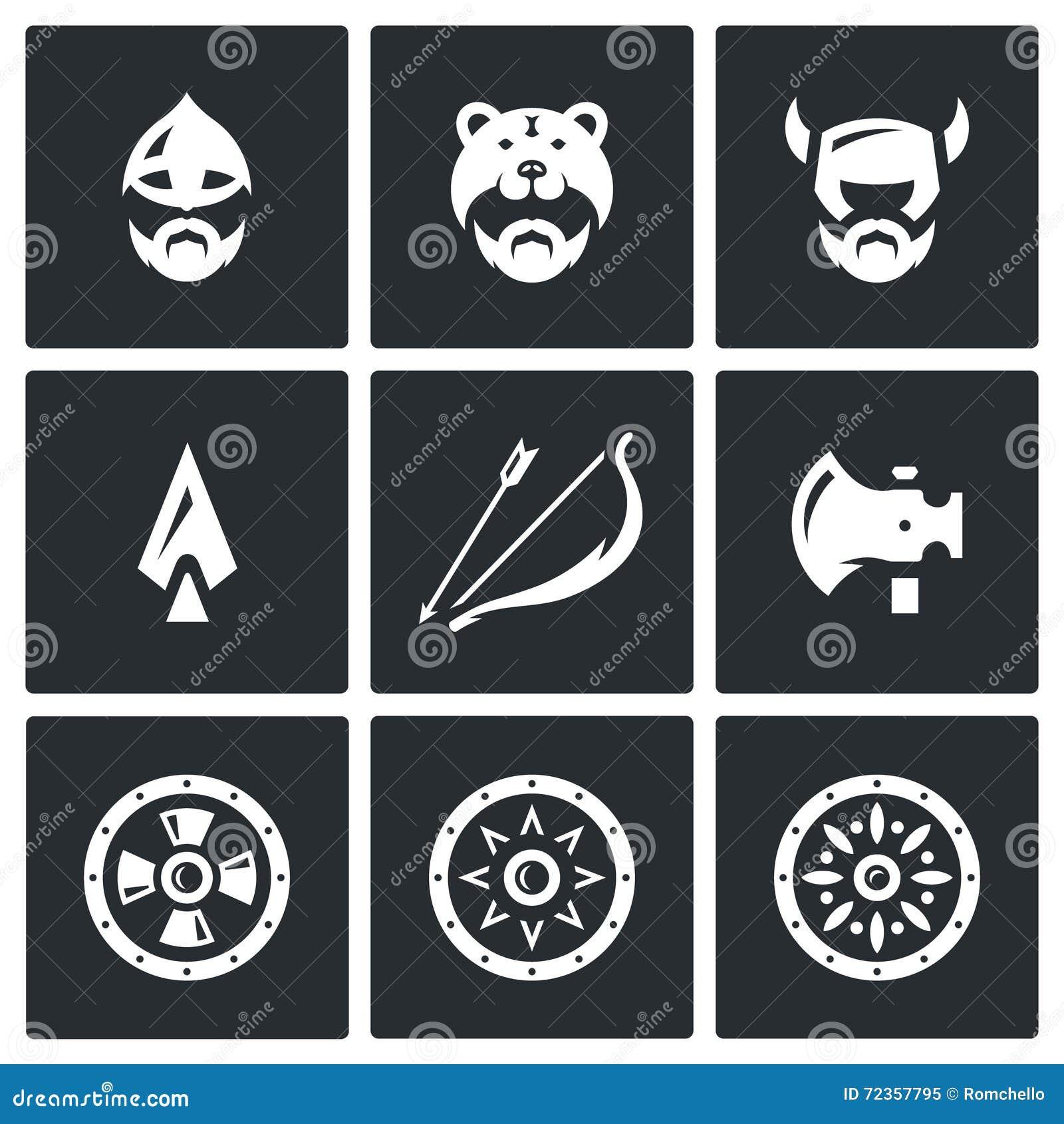 传染媒介套北欧海盗武器象 头、人、盔甲、轴、矛、弓箭,盾