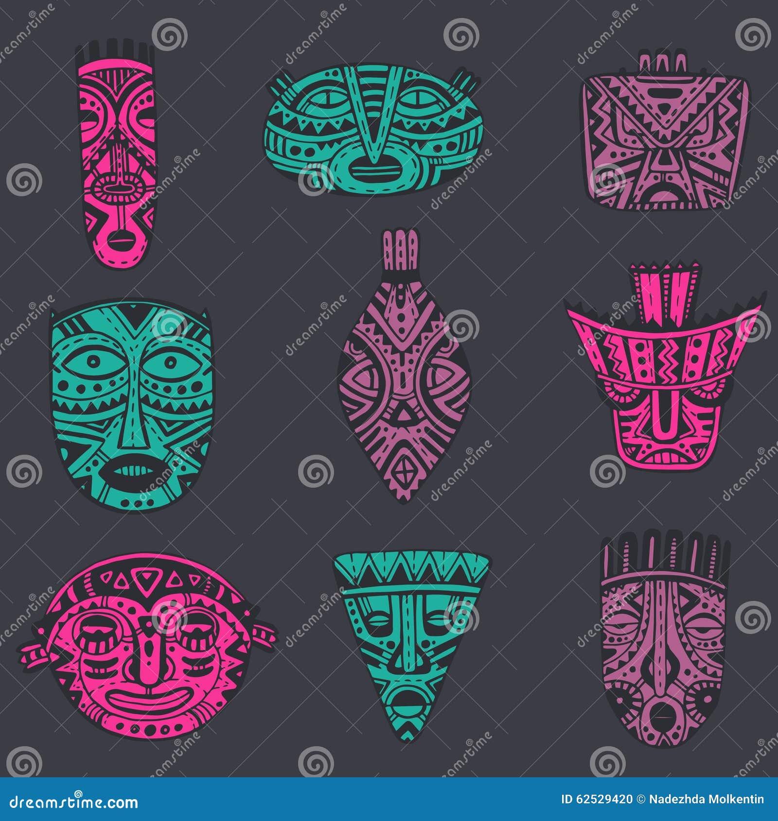 传染媒介套在非洲样式的手拉的花梢面具